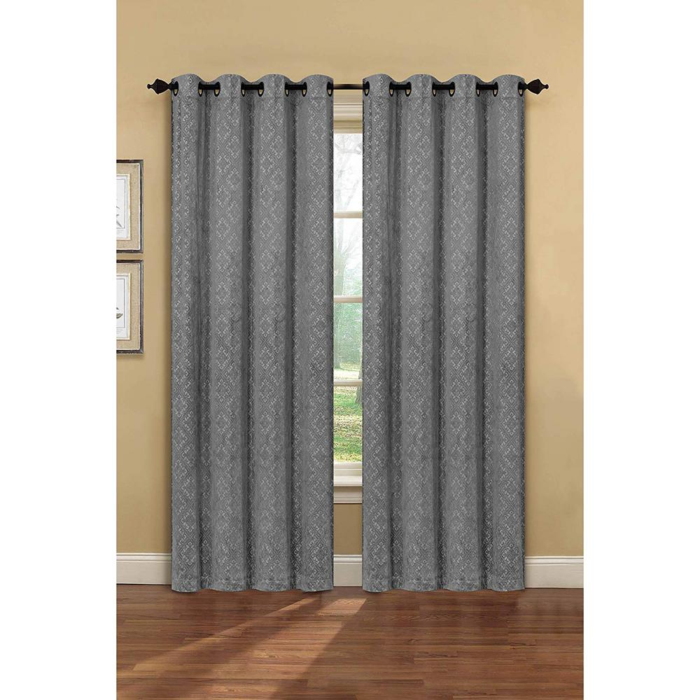 Creative Home Ideas Semi Opaque Matine Trellis Extra Wide Charcoal Embossed Velvet Grommet Curtain – Panel – 54 In. W X 84 In (View 15 of 31)