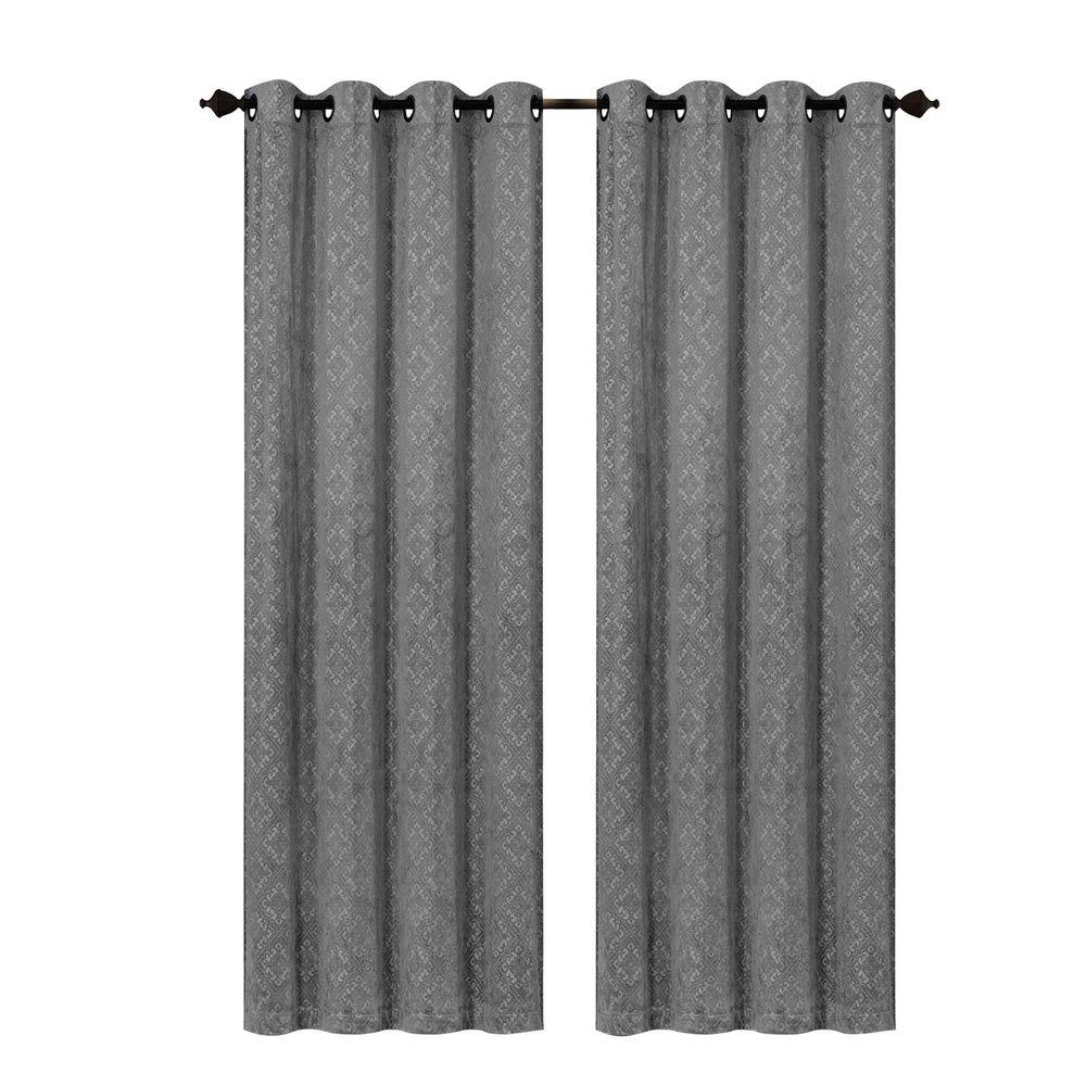 Creative Home Ideas Semi Opaque Matine Trellis Extra Wide Charcoal Embossed Velvet Grommet Curtain – Panel – 54 In. W X 84 In (View 13 of 31)