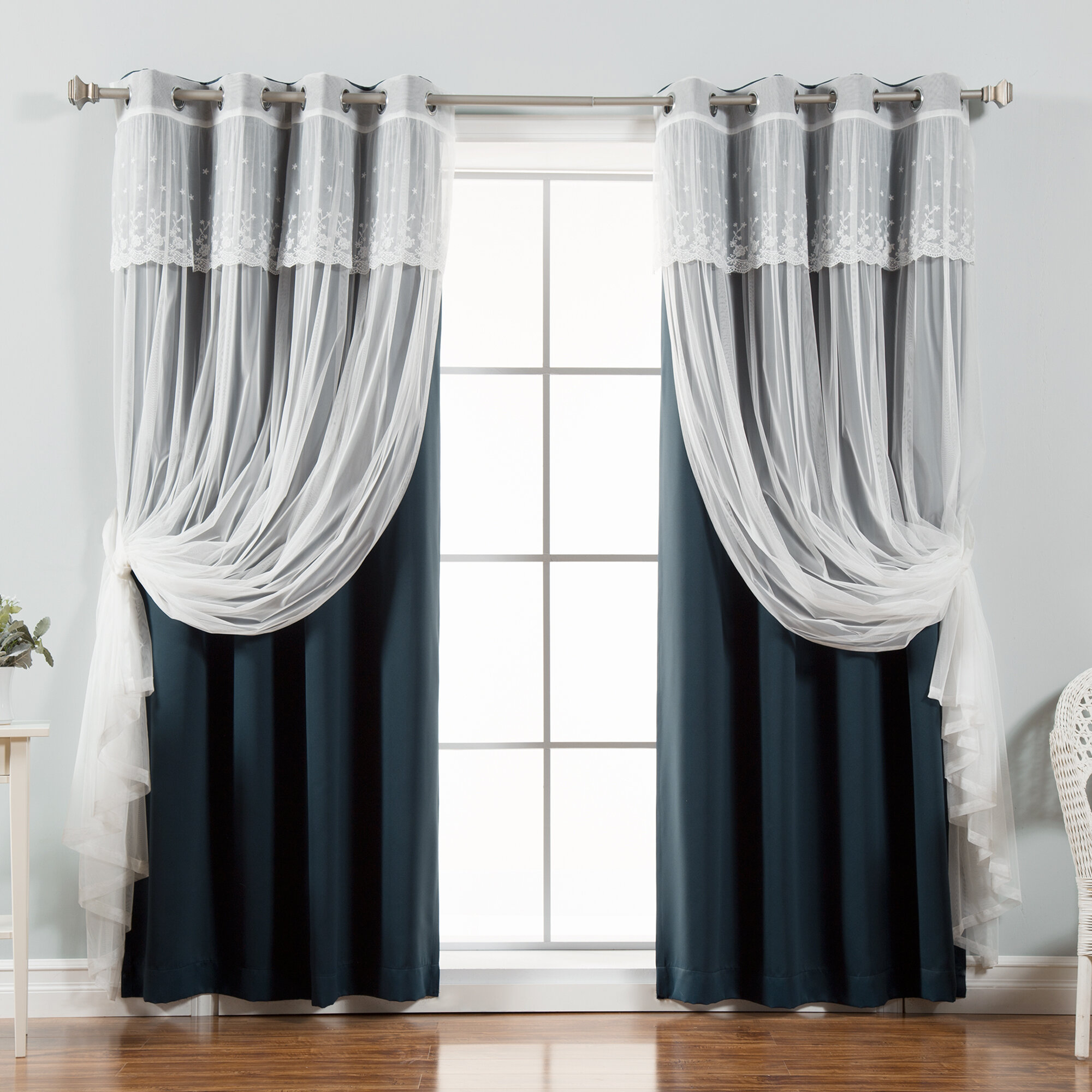 Crenshaw Solid Blackout Thermal Grommet Curtain Panels regarding Mix & Match Blackout Tulle Lace Bronze Grommet Curtain Panel Sets (Image 15 of 20)