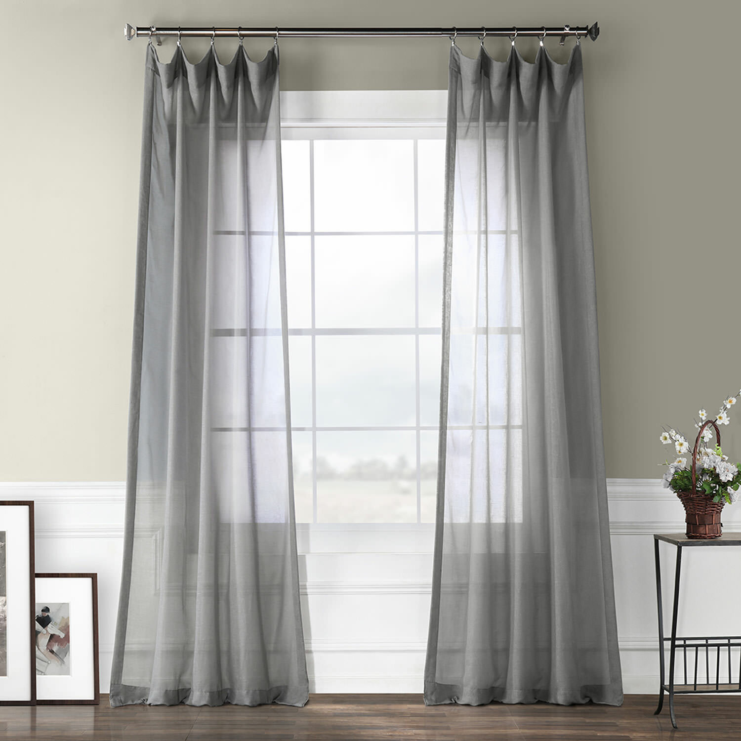 Cristopher Solid Sheer Rod Pocket Single Curtain Panel With Regard To Emily Sheer Voile Solid Single Patio Door Curtain Panels (View 16 of 20)