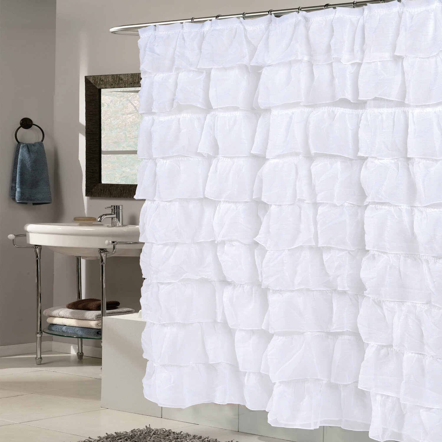 Crushed Voile Ruffled Tier Single Shower Curtain For Sheer Voile Waterfall Ruffled Tier Single Curtain Panels (View 20 of 20)