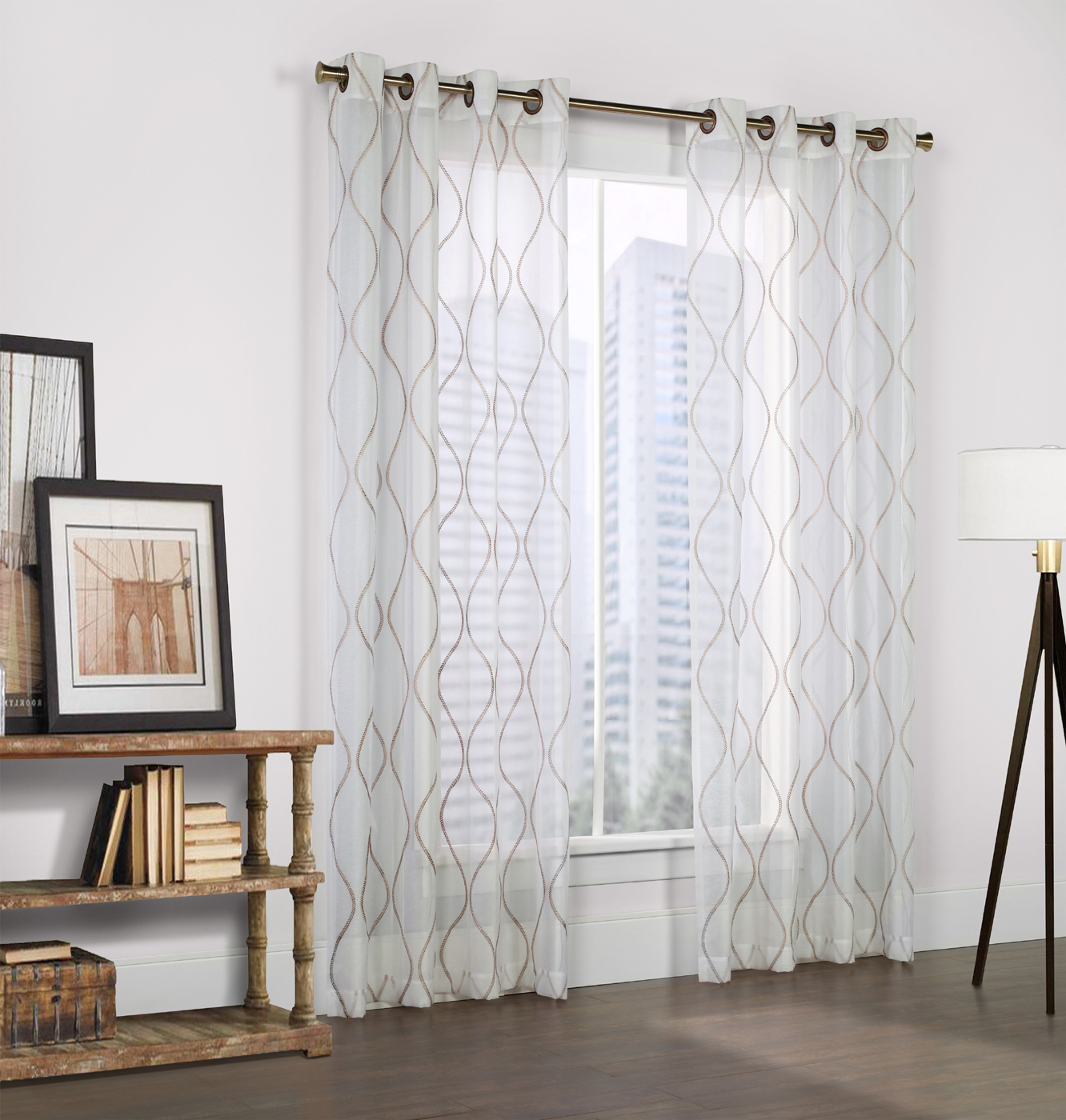 Crystal White Faux Linen Grommet Panel – Couture Inside Kida Embroidered Sheer Curtain Panels (View 14 of 20)