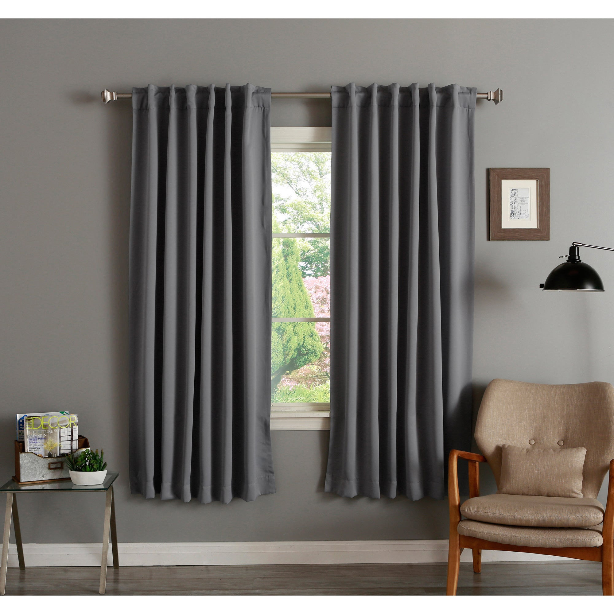 Curtain ~ Aurora Home Insulated Inch Thermal Blackout For Abstract Blackout Curtain Panel Pairs (Image 3 of 22)