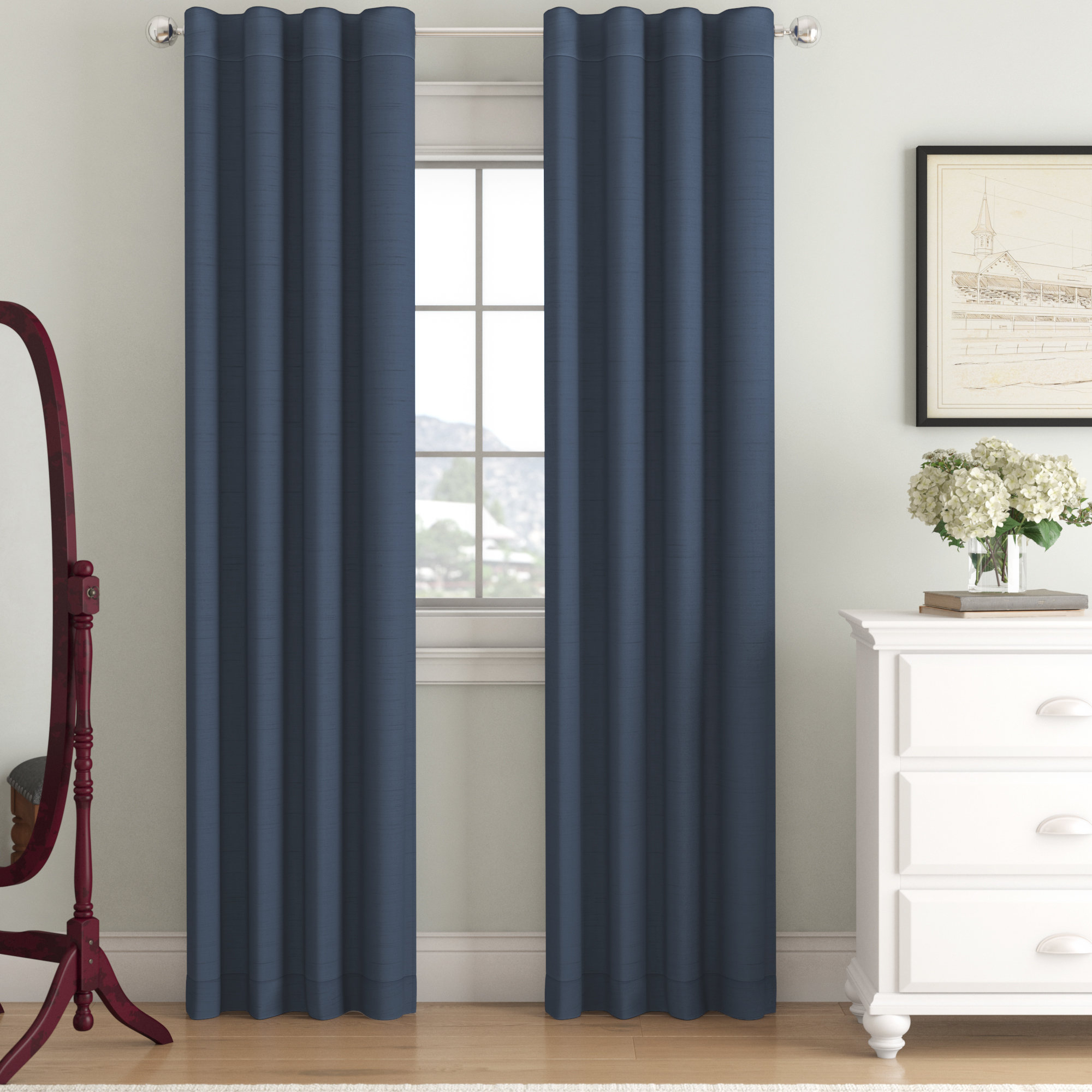 Curtain ~ Exclusive Fabrics Solid Faux Silk Taffeta Navy Regarding Faux Silk Taffeta Solid Blackout Single Curtain Panels (View 20 of 20)