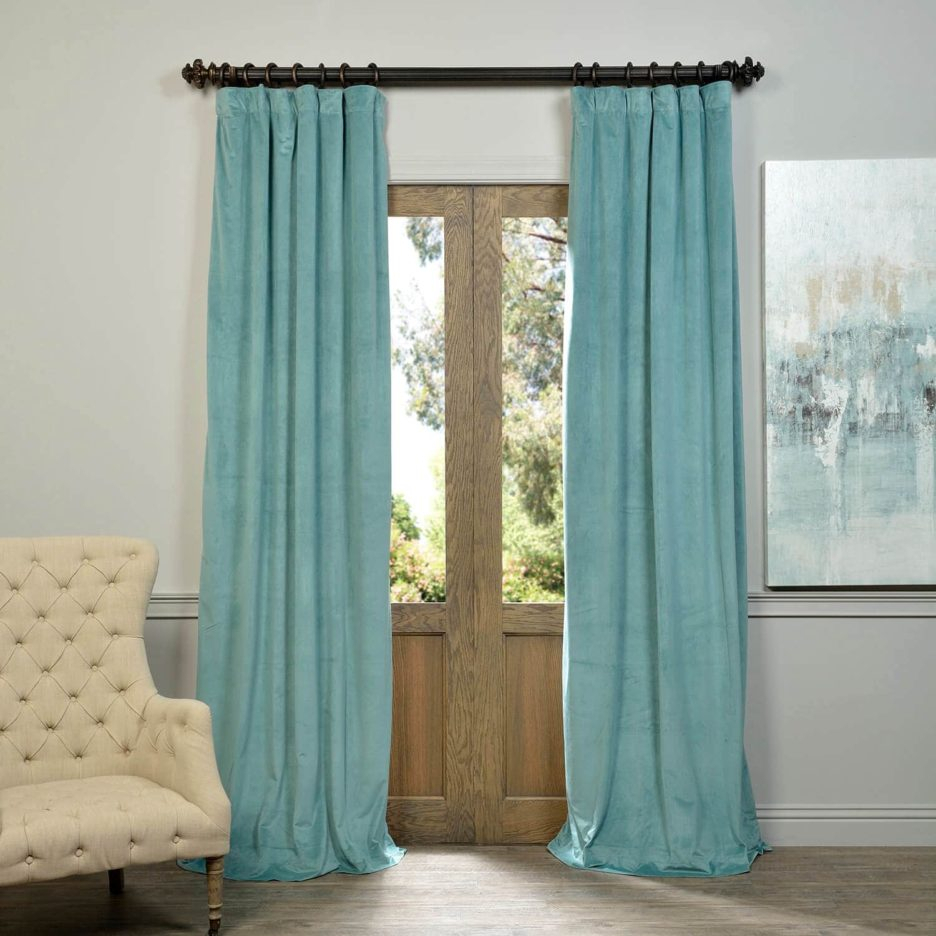 Curtain ~ Signature Aqua Mist Blackout Velvet Curtains For Signature Blackout Velvet Curtains (View 18 of 20)