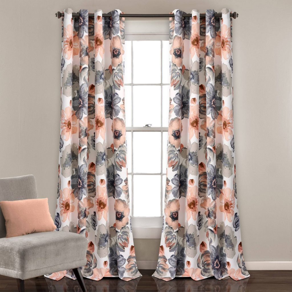 Curtains Panel Pair Blackout 2 Pcs Abstract Flower Design Colors Lush Decor  Leah Home In Abstract Blackout Curtain Panel Pairs (Image 4 of 22)