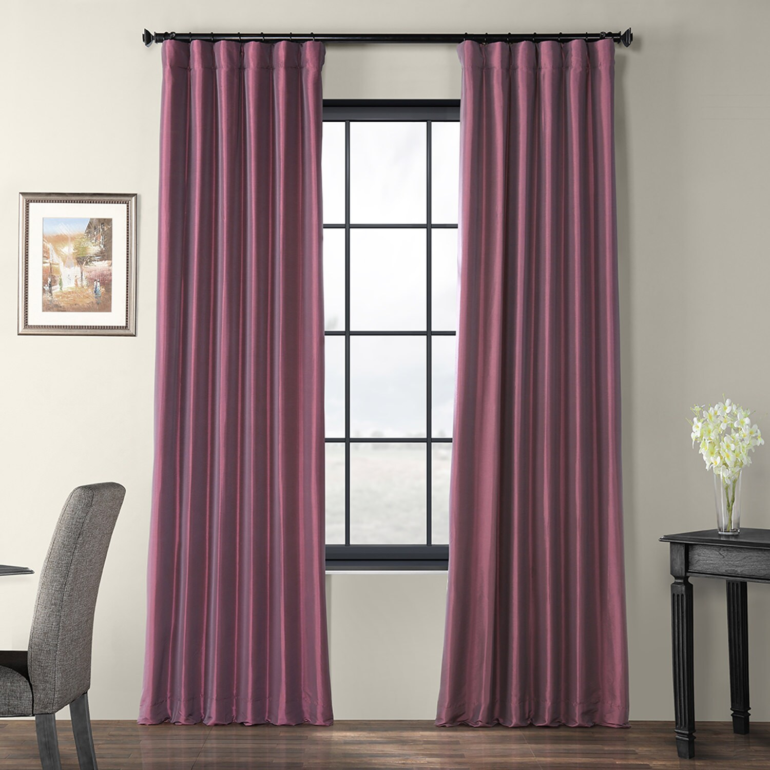 Dahlia Faux Silk Taffeta Curtain In Solid Faux Silk Taffeta Graphite Single Curtain Panels (View 6 of 30)