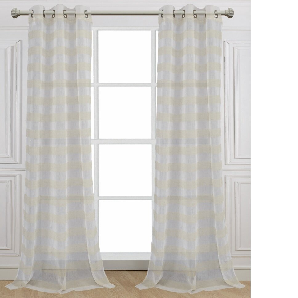Dainty Home Cabana Striped Sheer Grommet Curtain Panels Pertaining To Julia Striped Room Darkening Window Curtain Panel Pairs (View 19 of 20)