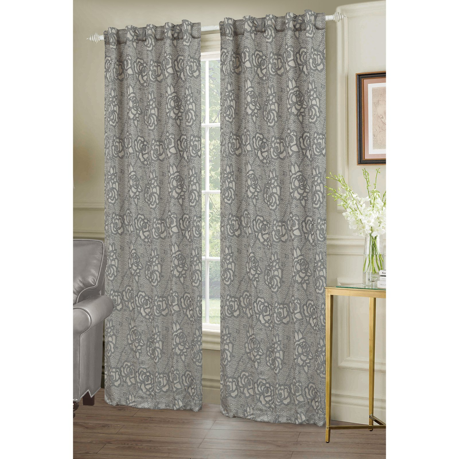 Dainty Home Lace Room Darkening Window Curtain Panel Pair Pertaining To Room Darkening Window Curtain Panel Pairs (View 17 of 20)