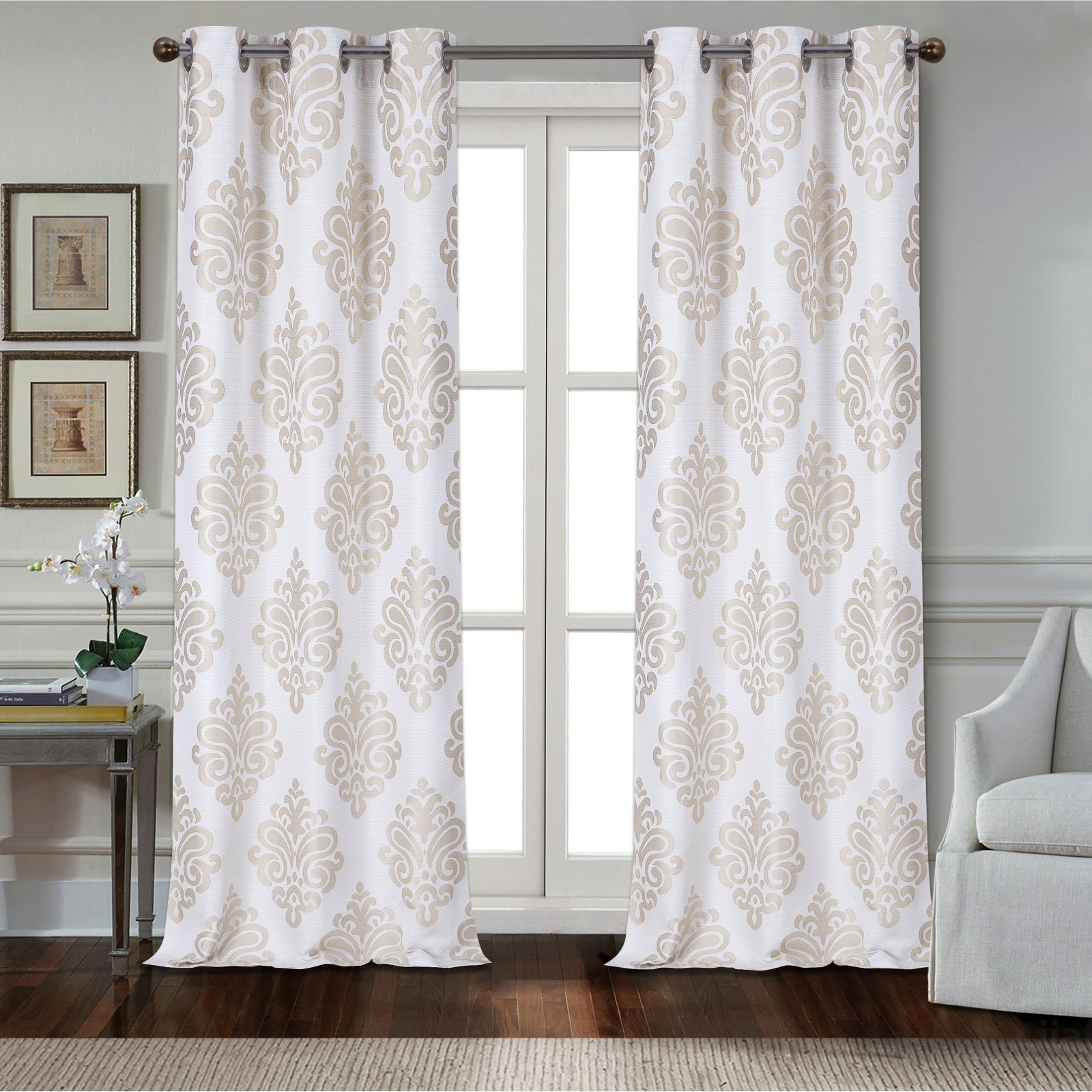 Dainty Home Marquise Textured Applique Grommet Window Regarding Lydia Ruffle Window Curtain Panel Pairs (View 5 of 20)