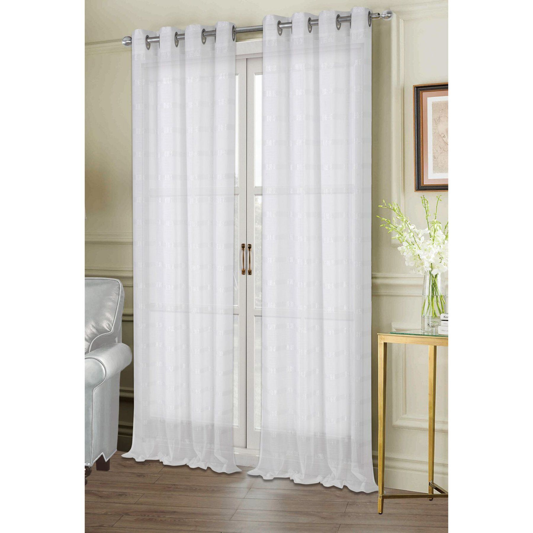 Dainty Home Metallica Grommet Sheer Panel Pair – White Intended For Signature White Double Layer Sheer Curtain Panels (View 2 of 30)