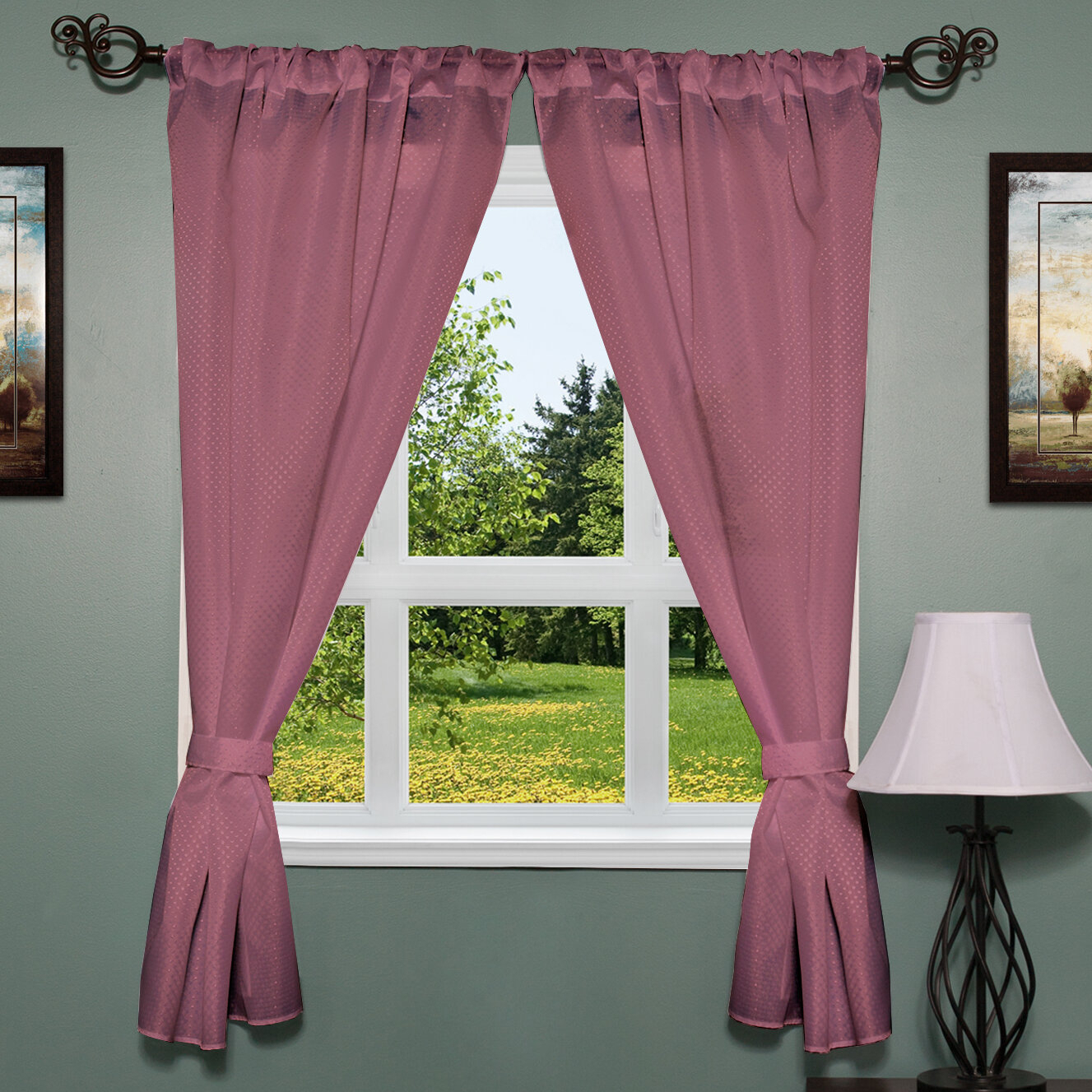 Dallastown Elegant Subtle Fabric Curtain Panel With Regard To Classic Hotel Quality Water Resistant Fabric Curtains Set With Tiebacks (View 6 of 20)