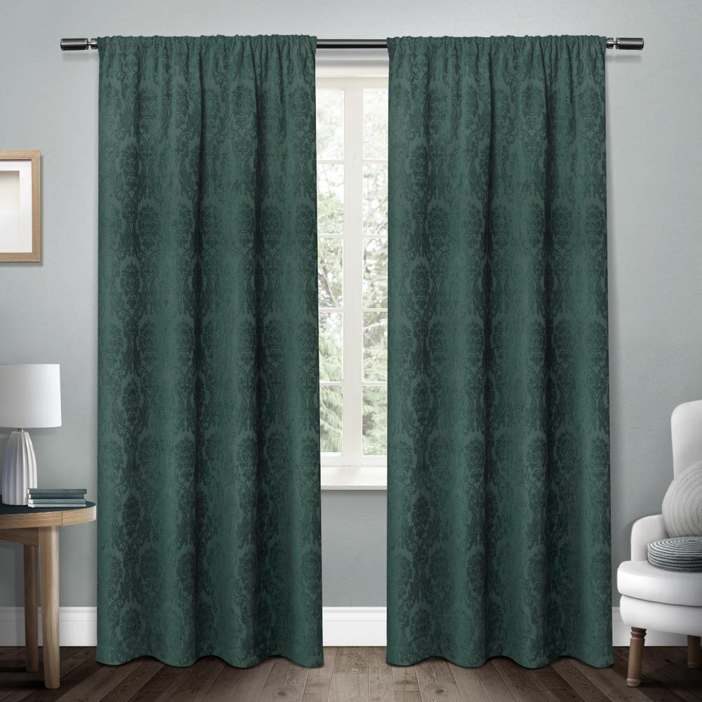 Damask Teal Chenille Heavyweight Jacquard Medallion Rod Pocket Top Window Curtain With Ella Window Curtain Panels (View 16 of 20)