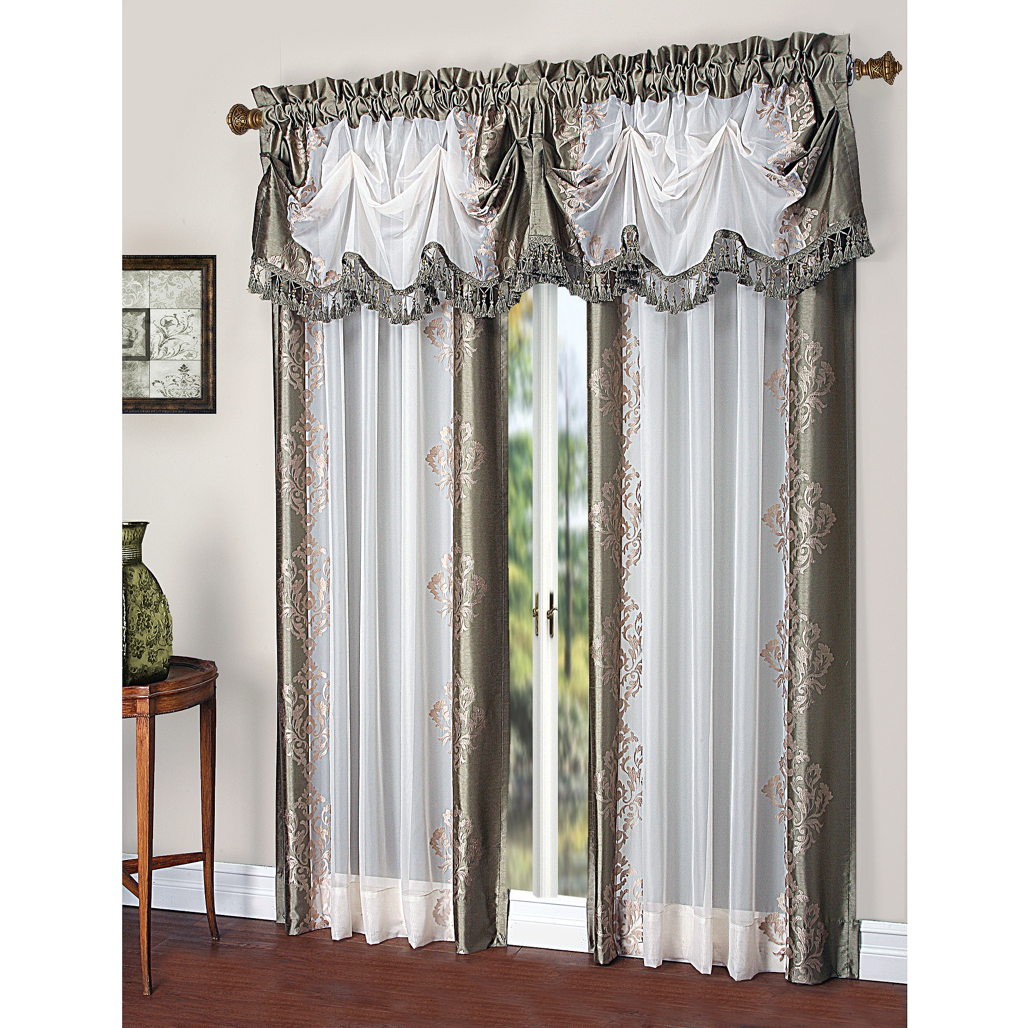 Danbury Embroidered Pieced Voile Faux Silk Polyester Curtain Panel In Ofloral Embroidered Faux Silk Window Curtain Panels (View 9 of 20)