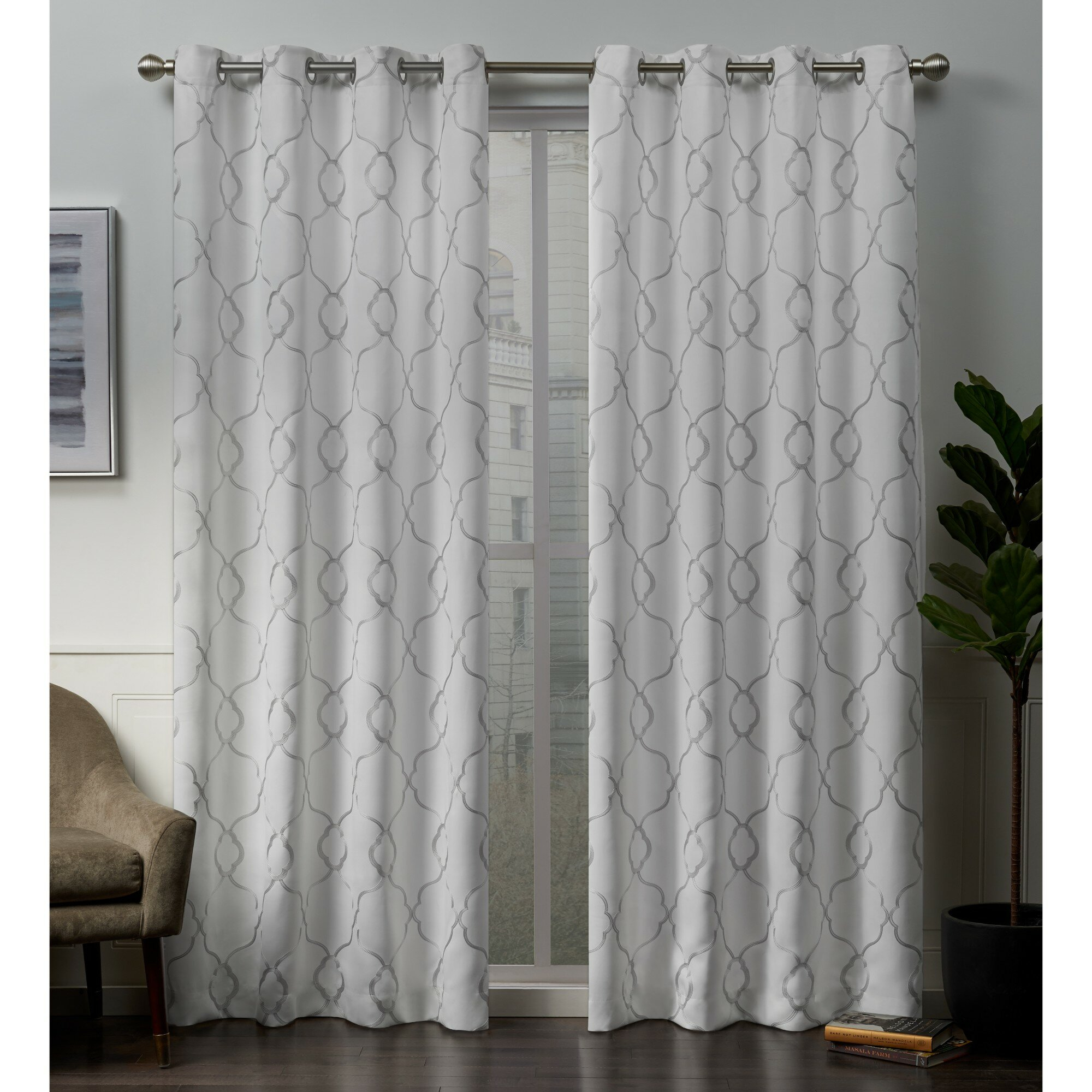 Darby Home Co Belew Embroidered Geometric Blackout Thermal With Regard To Sateen Twill Weave Insulated Blackout Window Curtain Panel Pairs (View 5 of 20)