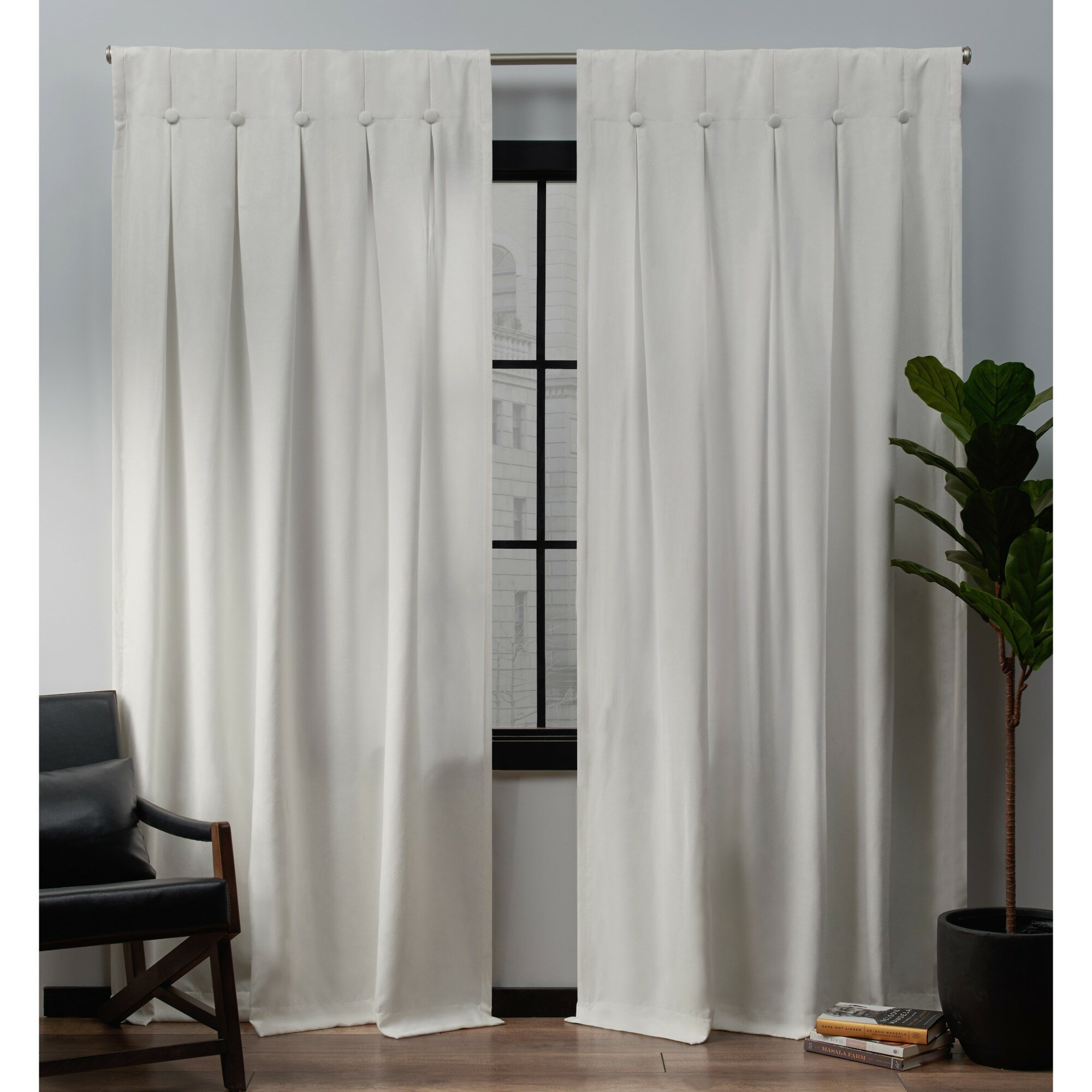 Darby Home Co Glossop Semi Sheer Tab Top Panel Pair | Wayfair For Sateen Woven Blackout Curtain Panel Pairs With Pinch Pleat Top (View 9 of 20)