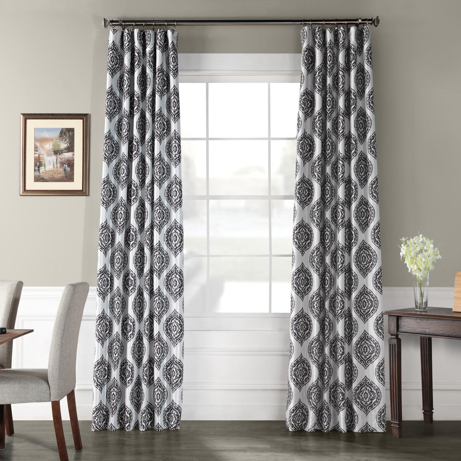 Darby Home Co Markiewicz Printed Faux Silk Taffeta Blackout With Regard To Overseas Faux Silk Blackout Curtain Panel Pairs (View 15 of 20)