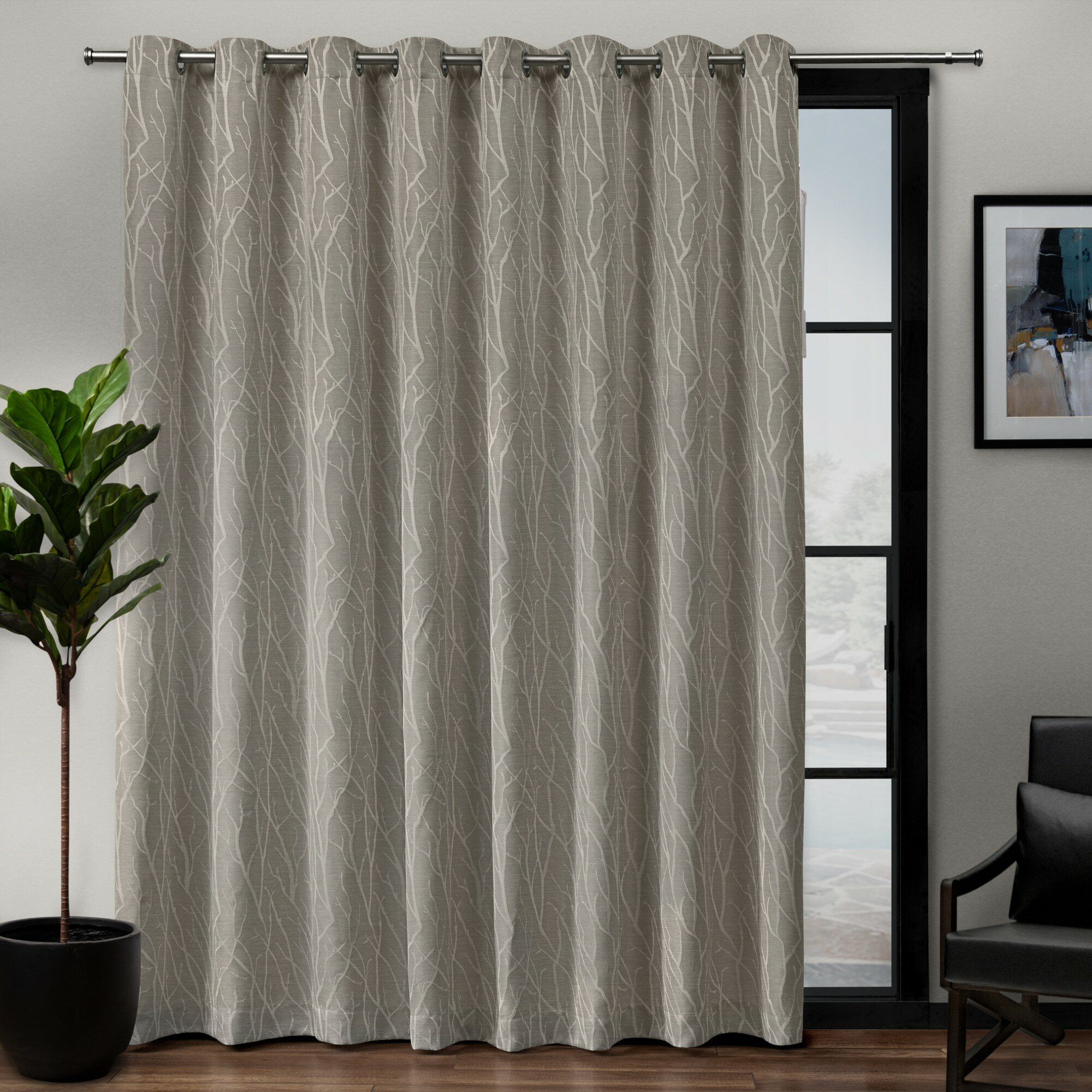 Darby Home Co Prower Patio Woven Blackout Thermal Grommet With Superior Leaves Insulated Thermal Blackout Grommet Curtain Panel Pairs (View 2 of 30)