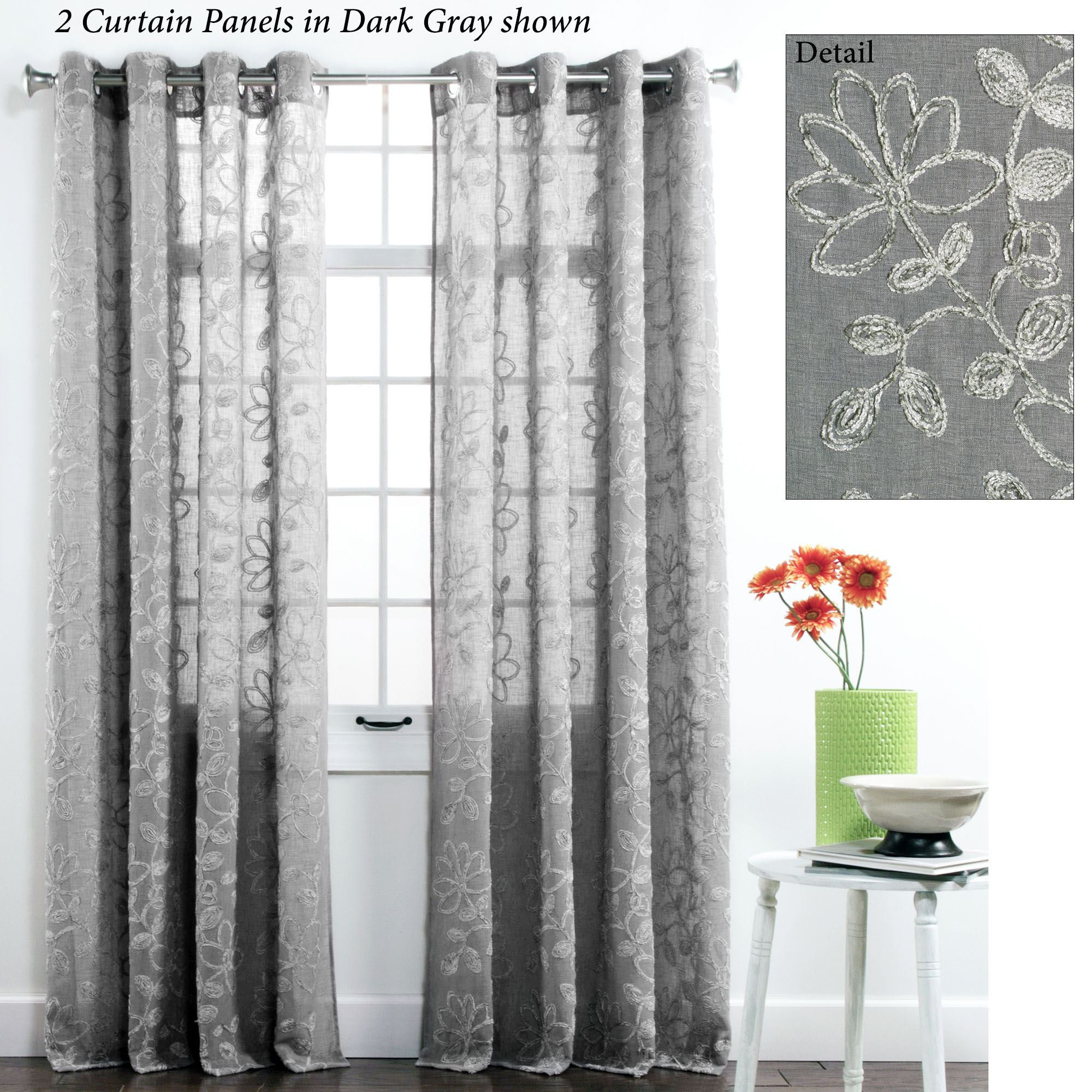 Darcey Floral Semi Sheer Grommet Curtain Panel Inside Penny Sheer Grommet Top Curtain Panel Pairs (View 17 of 20)