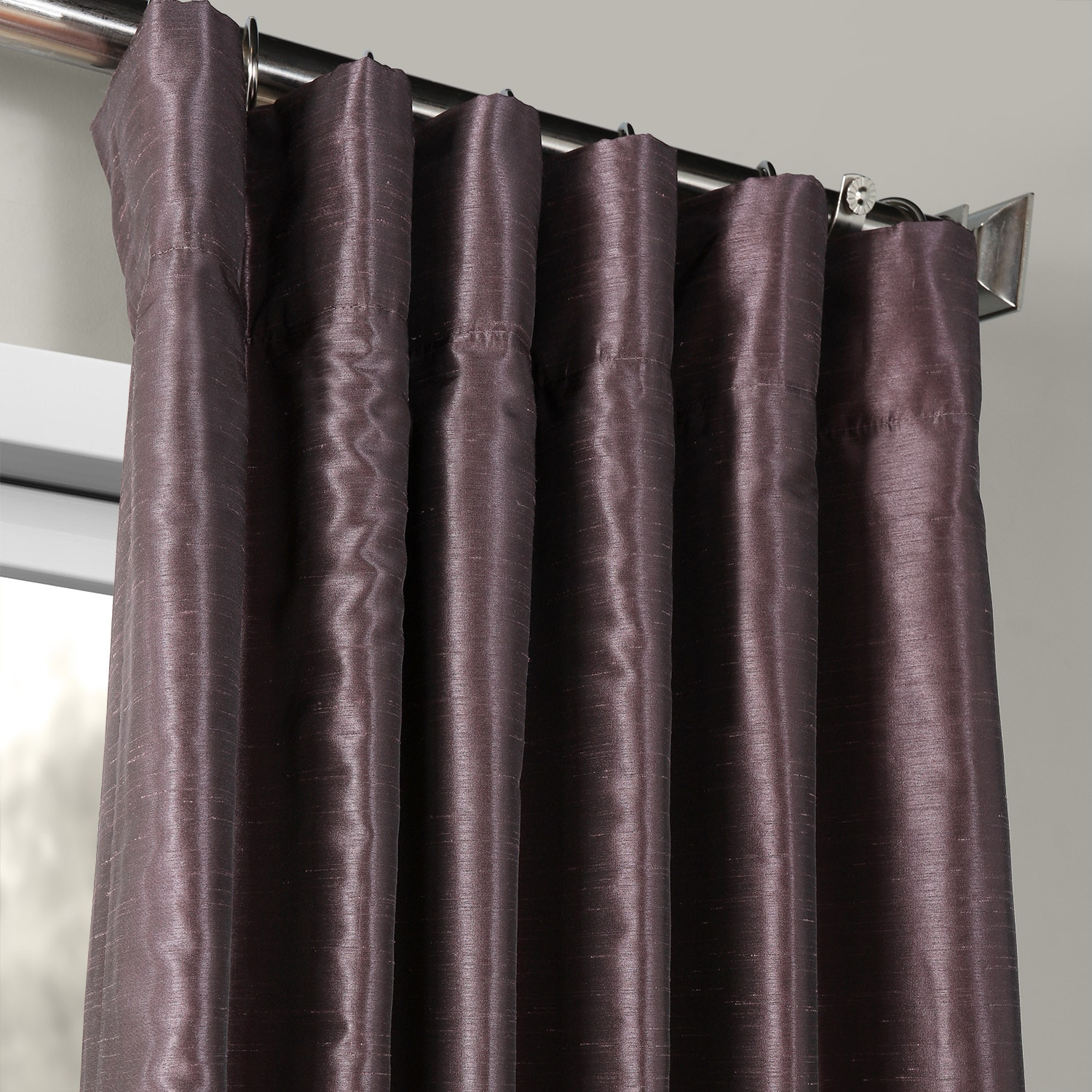 Dark Grape Vintage Textured Faux Dupioni Silk Curtain Intended For Ice White Vintage Faux Textured Silk Curtain Panels (View 2 of 20)