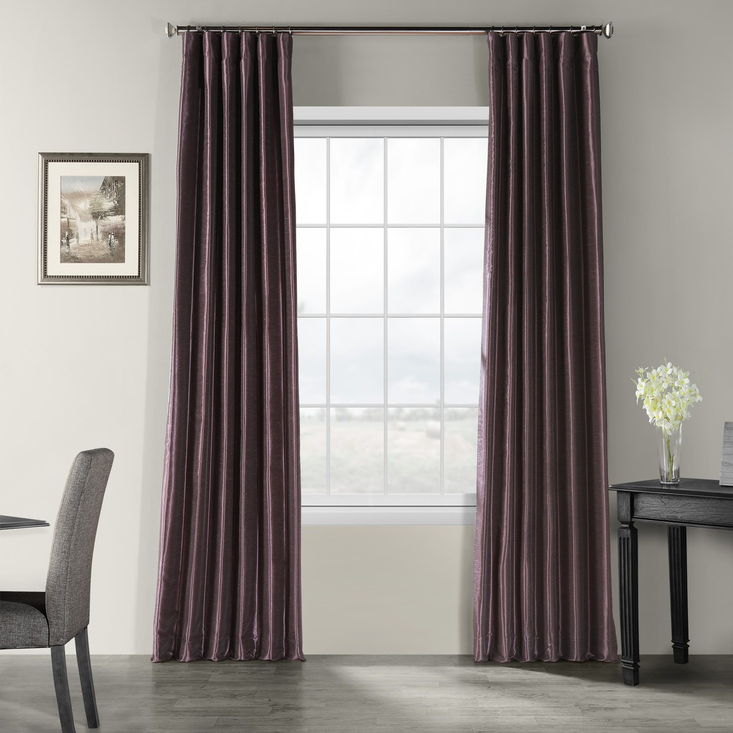 Dark Grape Vintage Textured Faux Dupioni Silk Curtain Pertaining To Ice White Vintage Faux Textured Silk Curtain Panels (View 11 of 20)