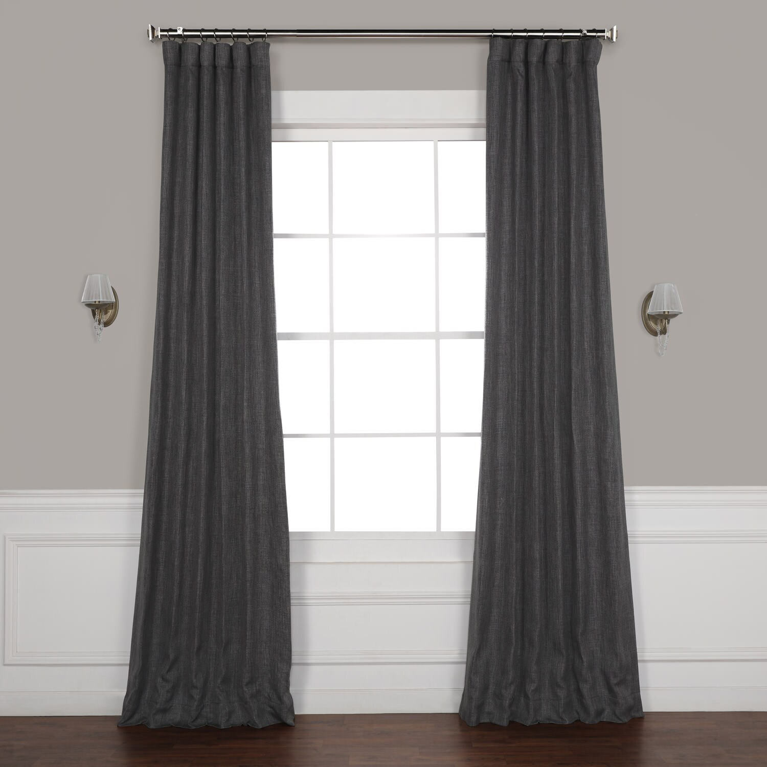 Dark Gravel Faux Linen Blackout Curtain With Faux Linen Blackout Curtains (View 2 of 20)