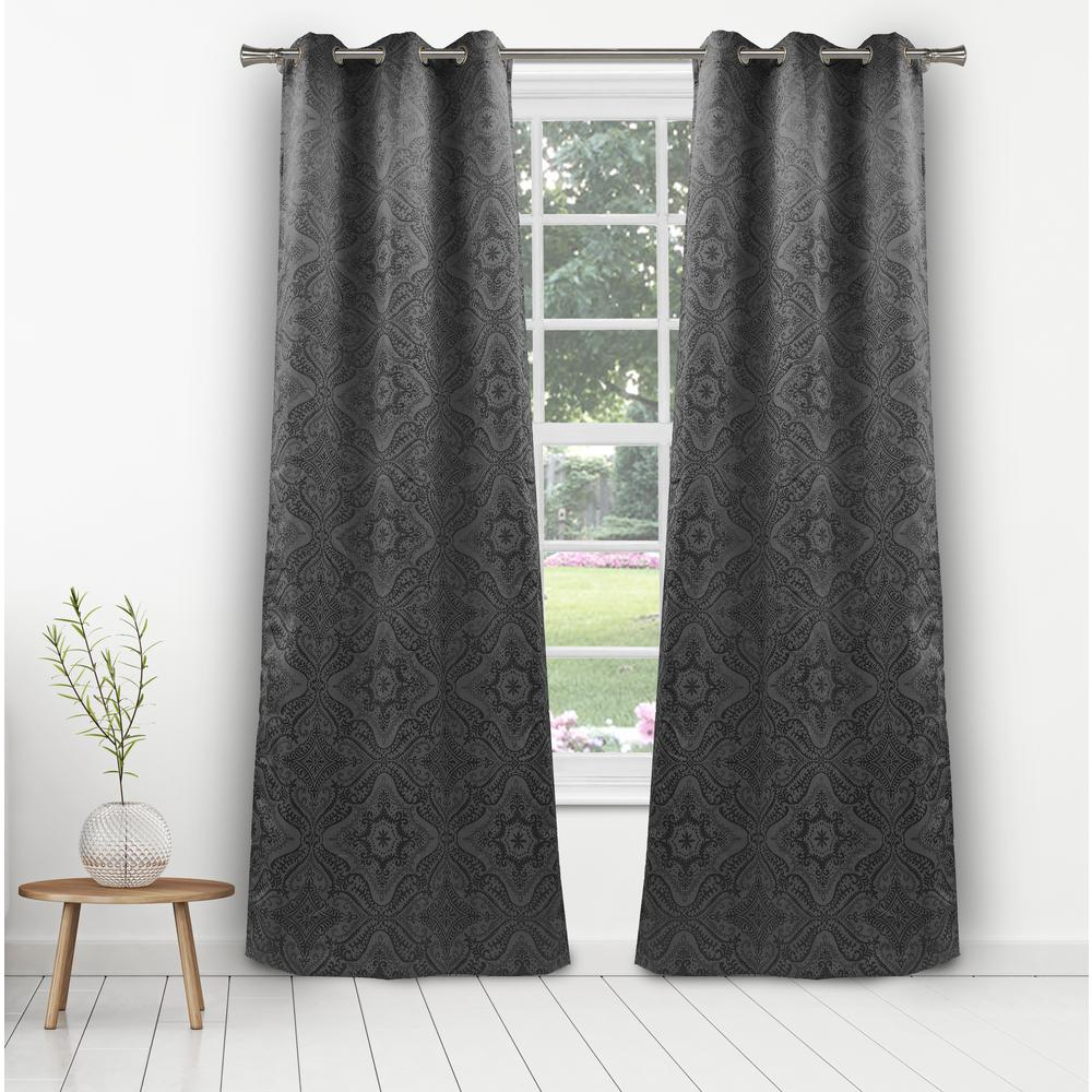 Dark Grey Blackout Curtains | Flisol Home Regarding Star Punch Tulle Overlay Blackout Curtain Panel Pairs (View 18 of 30)