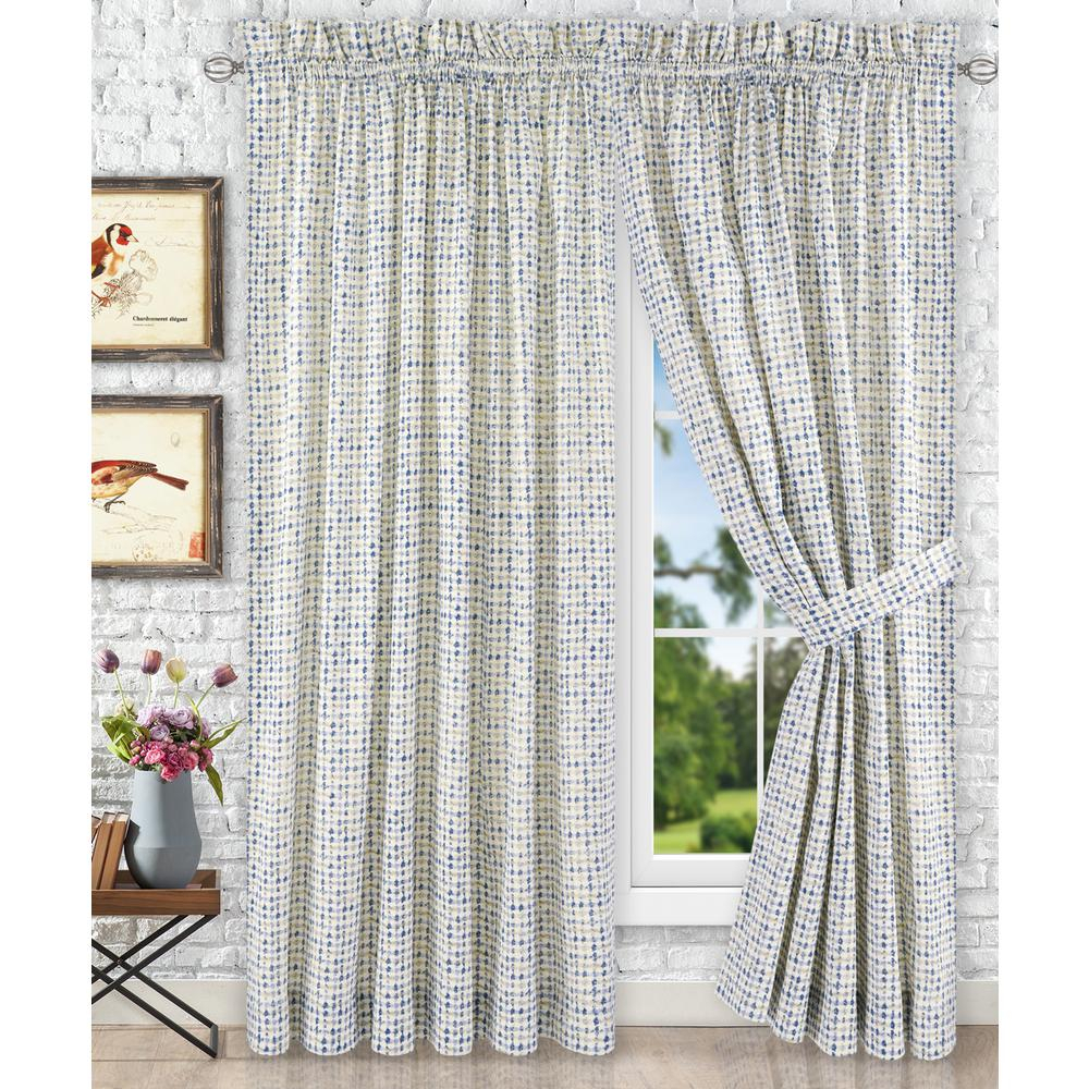 Davins Blue Cotton Twill Tailored Pair Curtains With Ties – 90 In. W X 84 In (View 4 of 20)