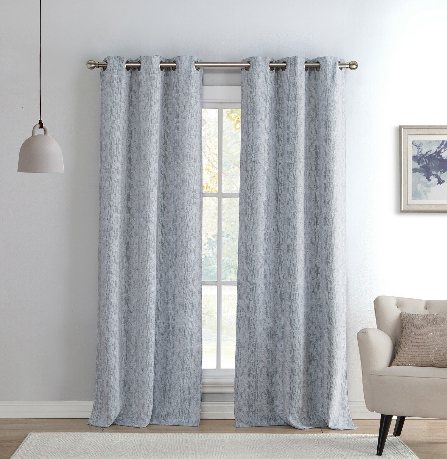 Davis Knit Geometric Blackout Grommet Curtain Panels With Regard To Davis Patio Grommet Top Single Curtain Panels (View 10 of 20)