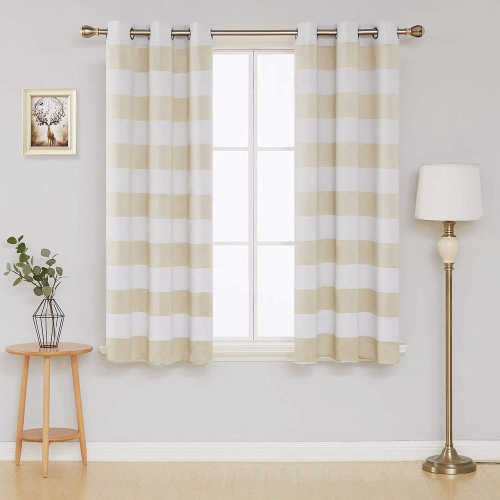 Deconovo Blackout Striped Curtains Thermal Insulated Grommet Intended For Superior Leaves Insulated Thermal Blackout Grommet Curtain Panel Pairs (View 3 of 30)