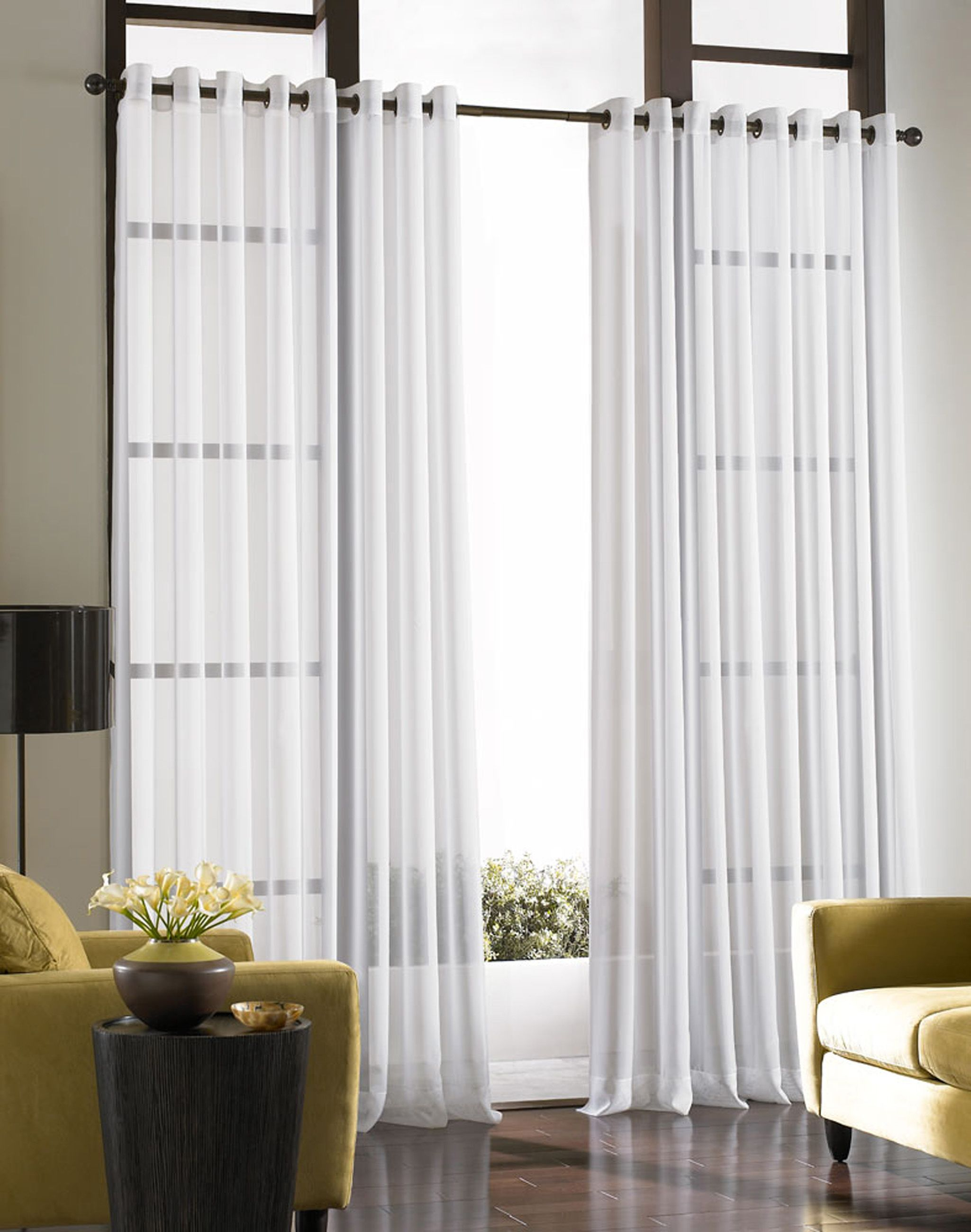 Decorating Bedroom Voile Lightweight Sheer Grommet Curtain Throughout Kaylee Solid Crushed Sheer Window Curtain Pairs (View 9 of 20)