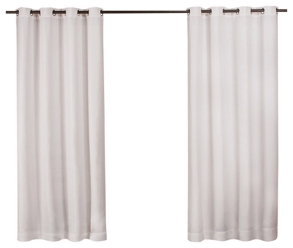 "Delano Indoor/outdoor Heavy Grommet Top Curtains, 54""x84"", White, Set Of 2 Within Wilshire Burnout Grommet Top Curtain Panel Pairs (View 22 of 30)"