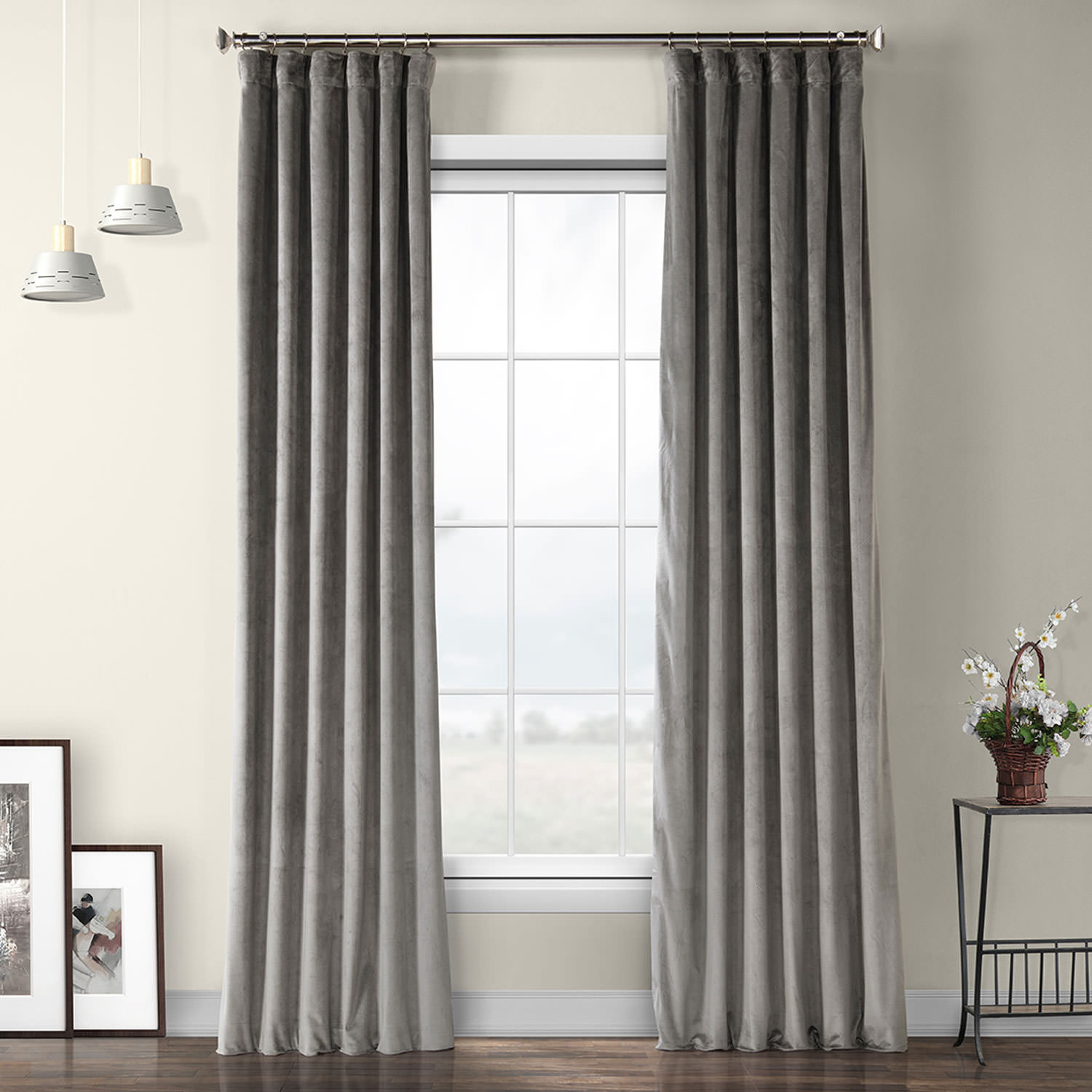 Destiny Grey Plush Velvet Curtain – Cambridge Stripe Curtain For Vertical Colorblock Panama Curtains (View 18 of 30)