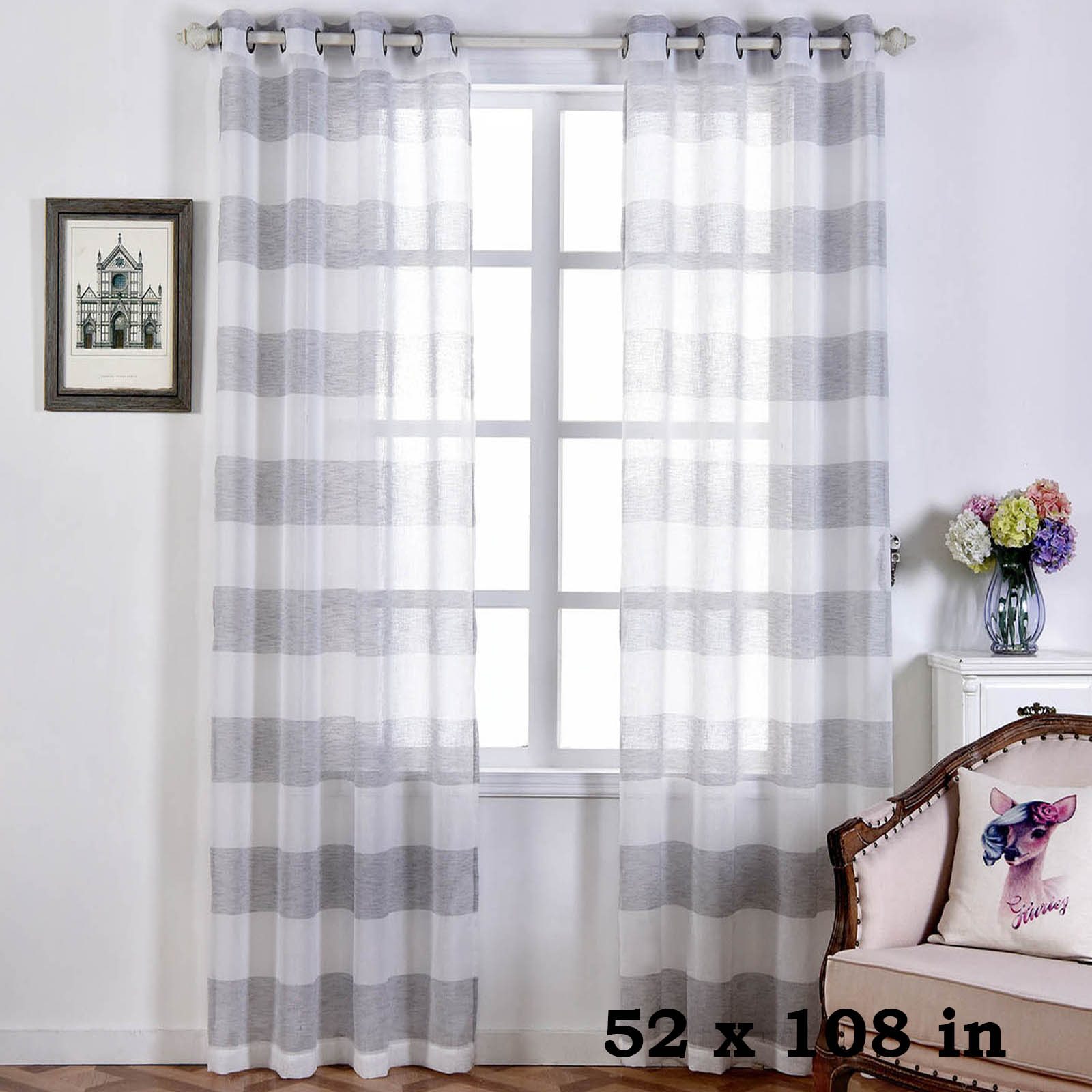 "Details About 2 Pcs White And Silver 52"" X 108"" Faux Linen Sheer Stripe  Window Curtains Drapes regarding Heavy Faux Linen Single Curtain Panels (Image 3 of 20)"