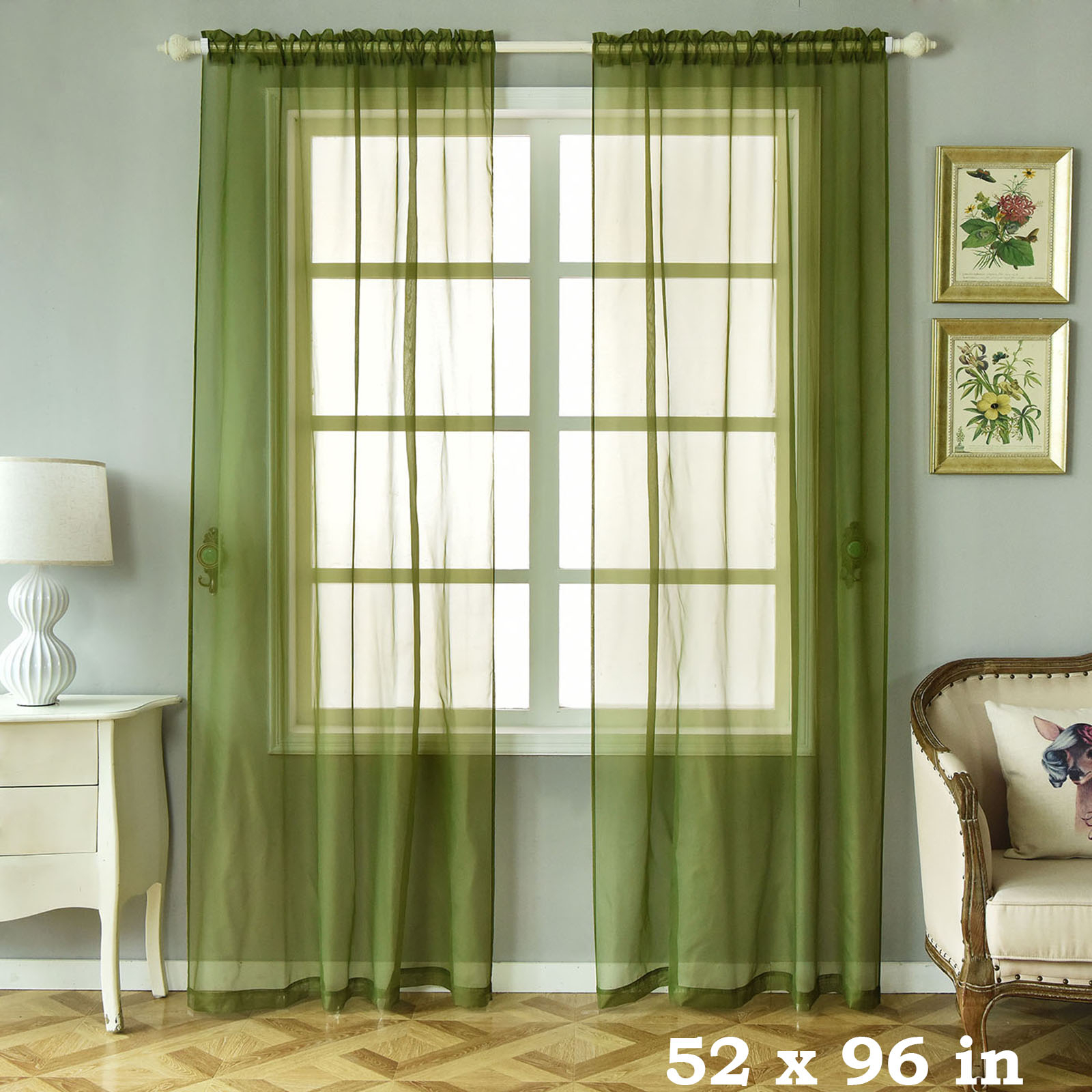 "Details About 2 Pcs Willow Green 52"" X 96"" Sheer Organza Window Curtains Drapes Panels Home Inside Willow Rod Pocket Window Curtain Panels (View 5 of 30)"