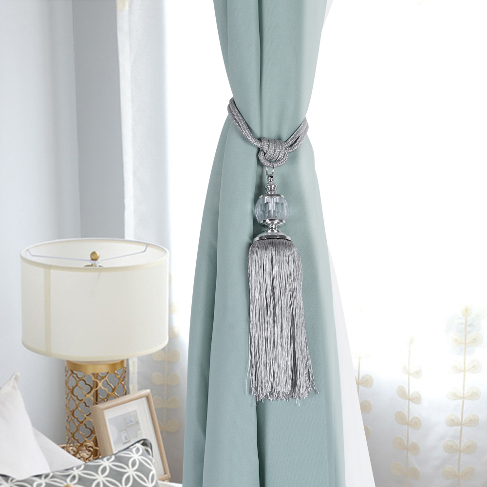 Details About 2Pcs Tassel Rope Window Curtain Decor Ball Curtain Tiebacks Window Decor New Co With Regard To Classic Hotel Quality Water Resistant Fabric Curtains Set With Tiebacks (View 7 of 20)