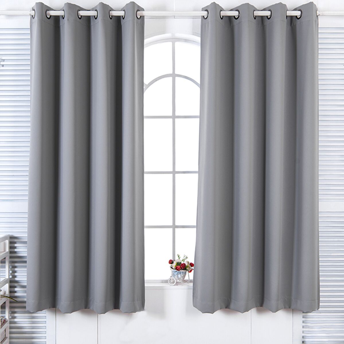 """Details About 84"""" Lamia Premium Solid Insulated Thermal Blackout Grommet Window Panelseleg Regarding Solid Insulated Thermal Blackout Curtain Panel Pairs (View 13 of 30)"""