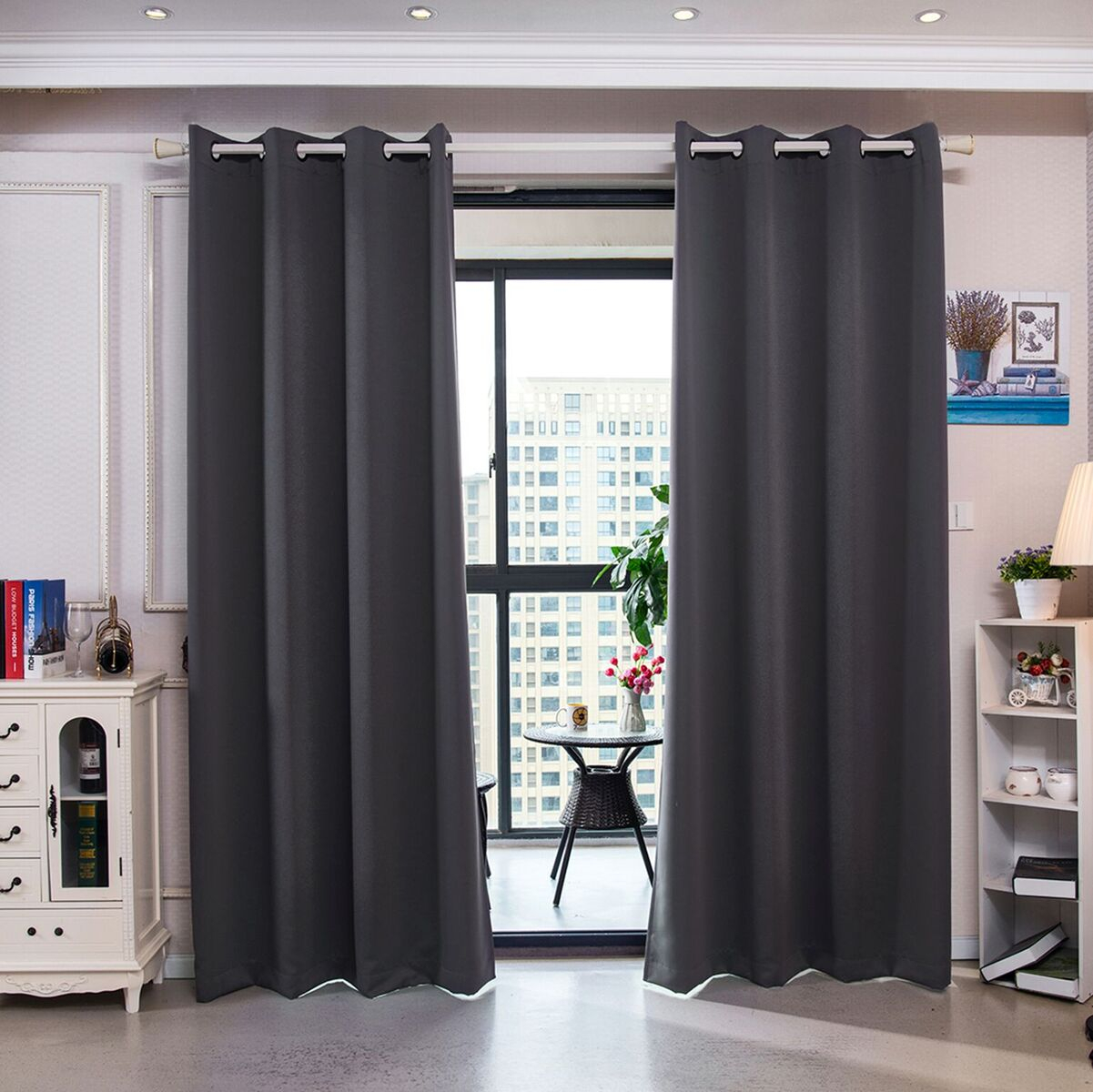 """Details About 84"""" Sparta Premium Solid Insulated Thermal Blackout Grommet Window Panelsele Inside Solid Insulated Thermal Blackout Curtain Panel Pairs (View 20 of 30)"""