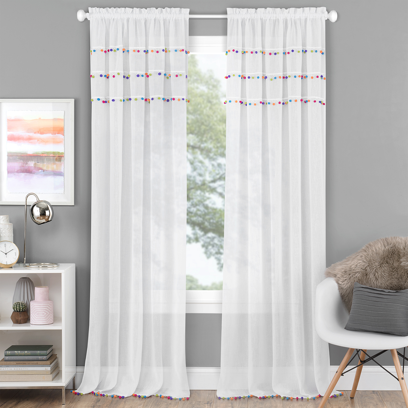 Details About Achim Home Furnishing: Pom Pom Bright Semi Sheer Window Curtain Rod Pocket Panel With Willow Rod Pocket Window Curtain Panels (View 13 of 30)