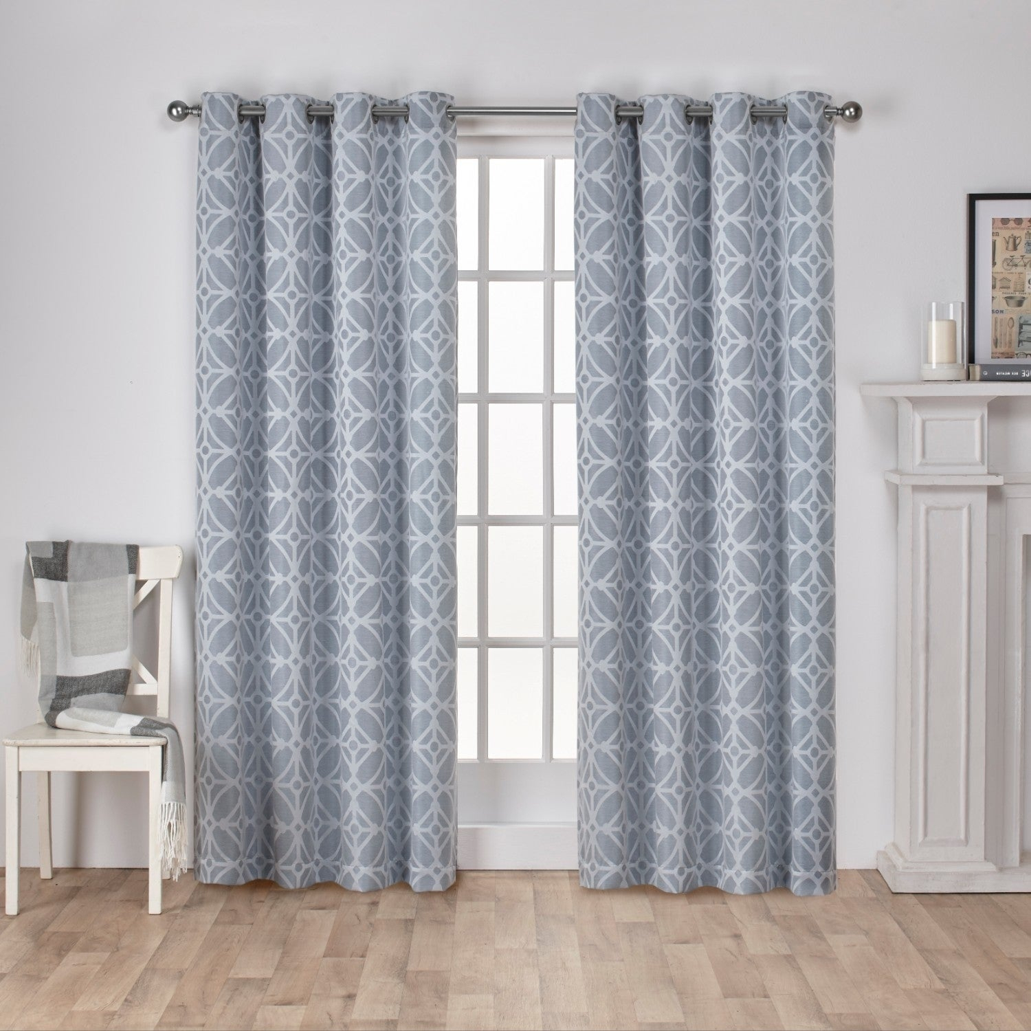 Details About Ati Home Cressy Jacquard Grommet Top Curtain Panel Pair Intended For Wilshire Burnout Grommet Top Curtain Panel Pairs (View 23 of 30)