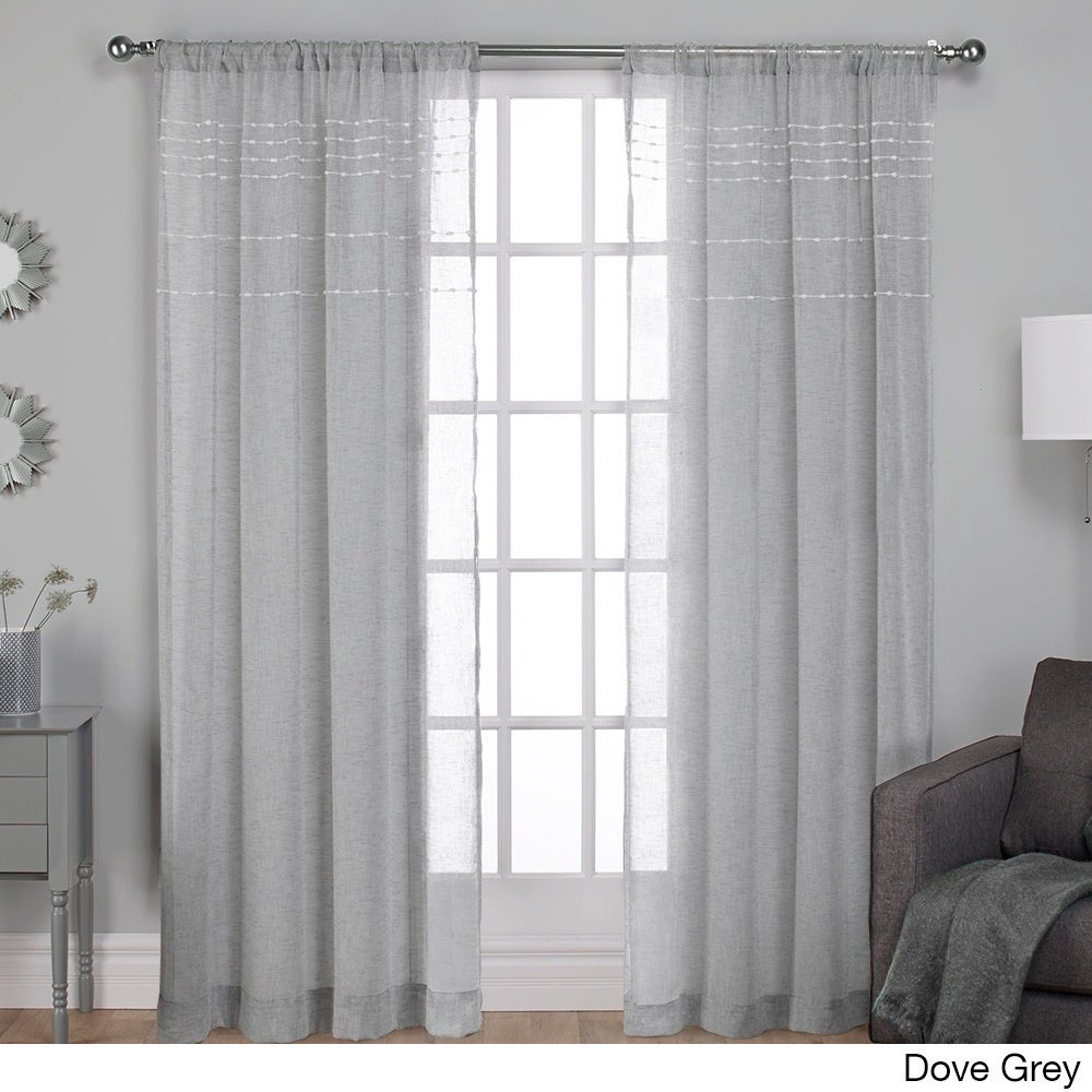 Details About Ati Home Davos Embellished Sheer Rod Pocket Top Curtain With Regard To Belgian Sheer Window Curtain Panel Pairs With Rod Pocket (View 19 of 20)