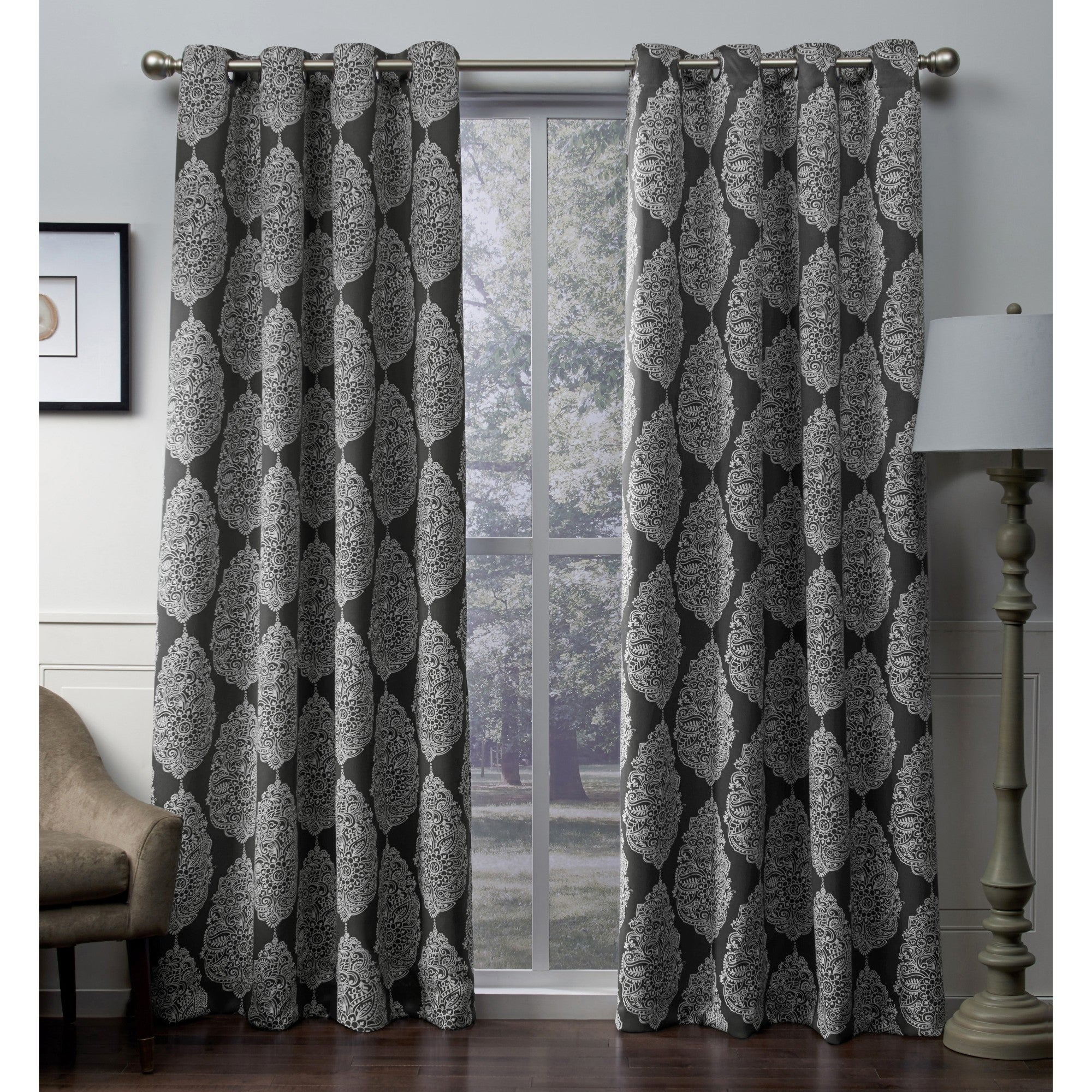 Details About Ati Home Queensland Sateen Blackout Grommet Top Curtain Within Sateen Woven Blackout Curtain Panel Pairs With Pinch Pleat Top (View 10 of 20)