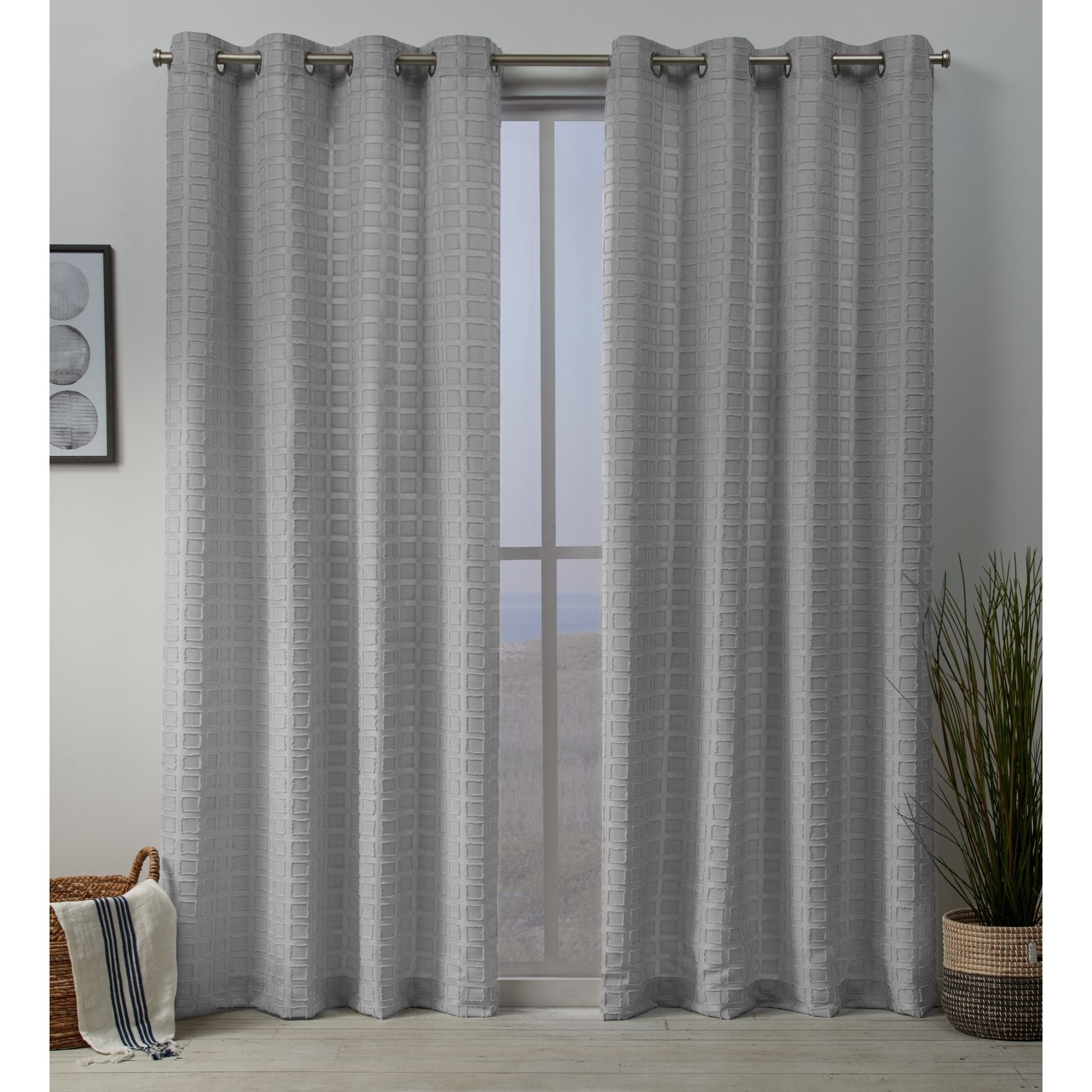 Details About Ati Home Squared Embellished Grommet Top Curtain Panel Pair Within Kochi Linen Blend Window Grommet Top Curtain Panel Pairs (View 15 of 20)