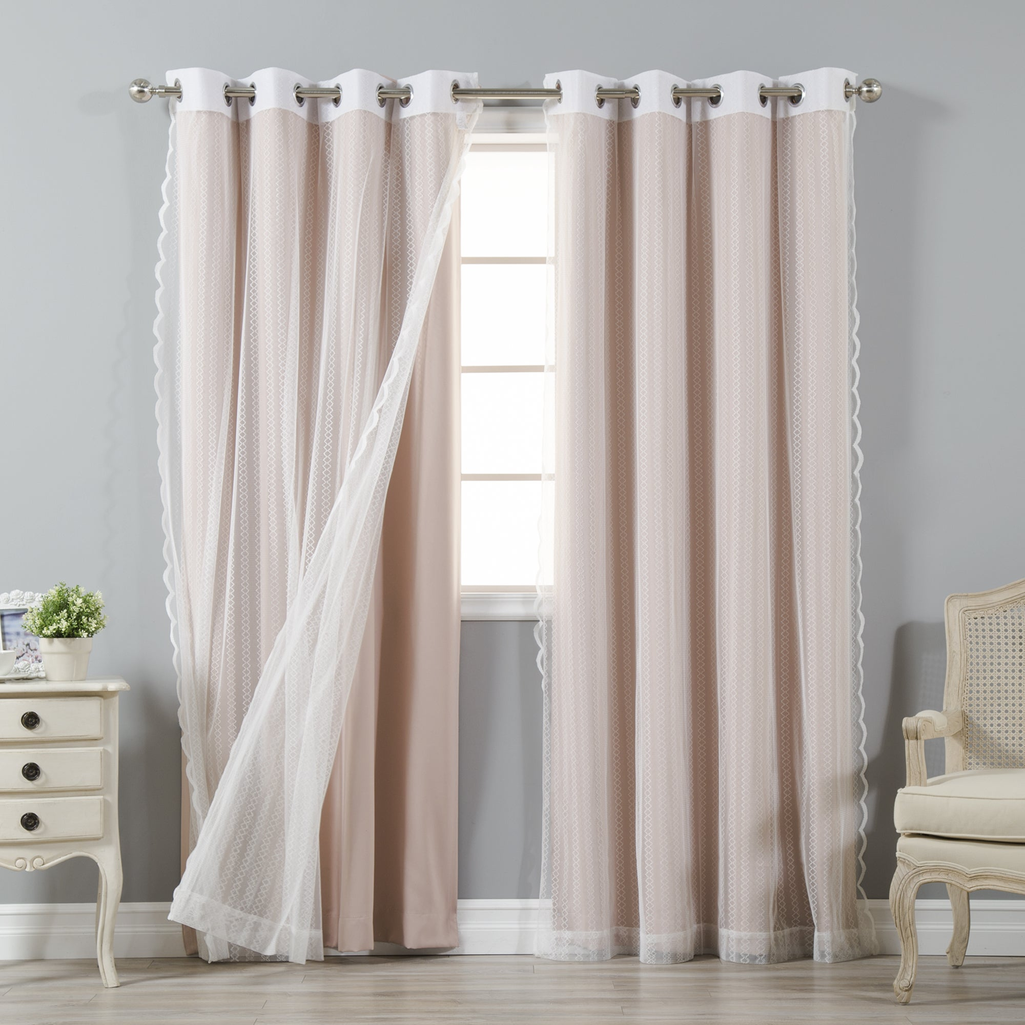 Details About Aurora Home Mix & Match Blackout And Zigzag Lace 4 Piece Throughout Mix And Match Blackout Blackout Curtains Panel Sets (View 18 of 20)