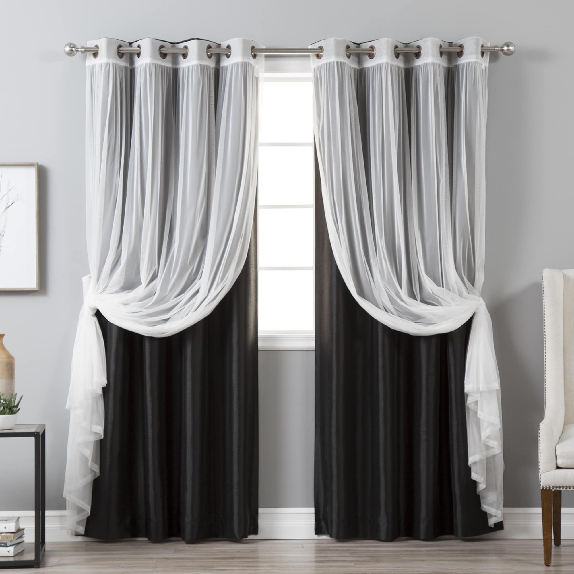 Details About Aurora Home Mix & Match Faux Silk Blackout Tulle Sheer 4 In Tulle Sheer With Attached Valance And Blackout 4 Piece Curtain Panel Pairs (View 9 of 30)