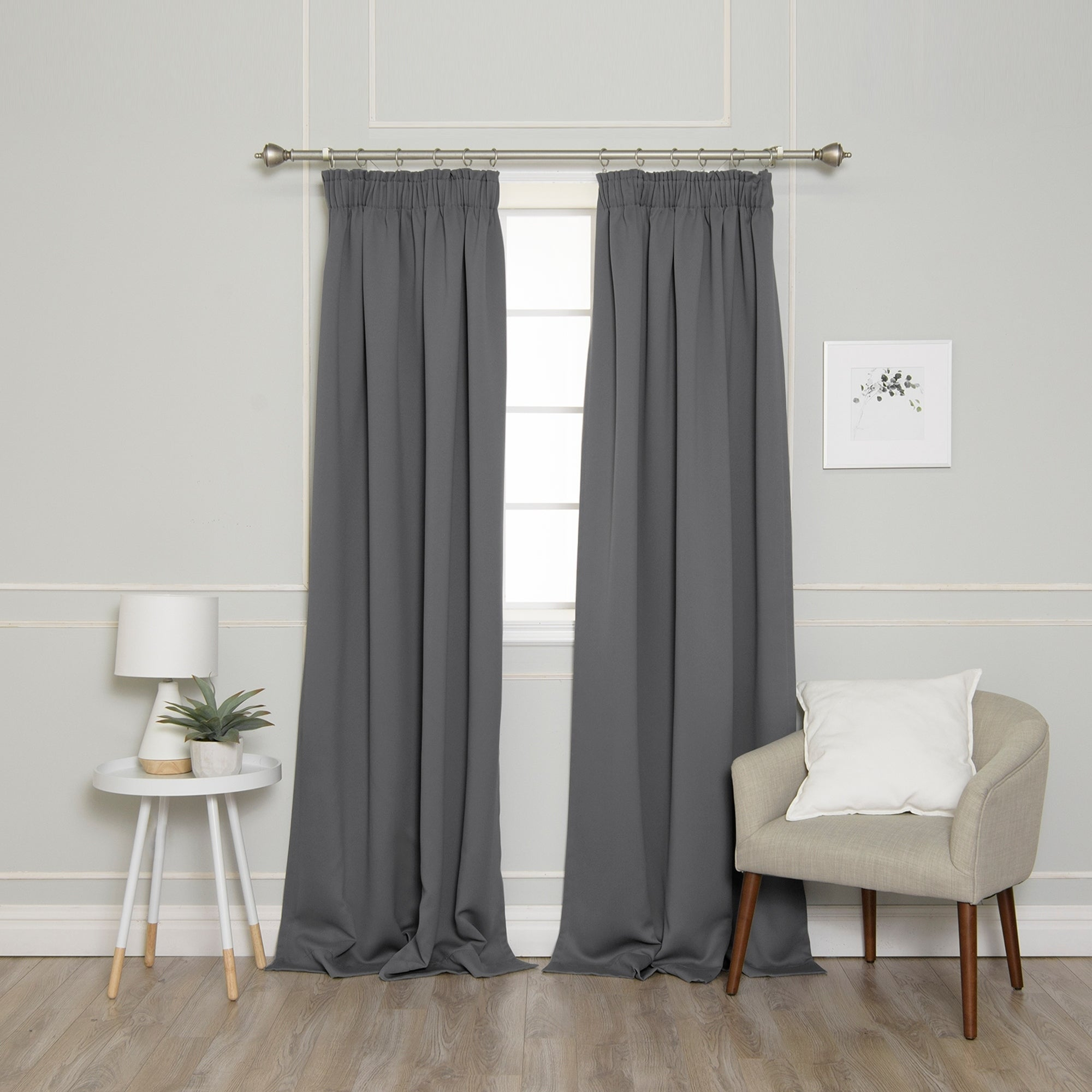 Details About Aurora Home Pencil Pleat Thermal Blackout Curtain Panel Pair Within Silvertone Grommet Thermal Insulated Blackout Curtain Panel Pairs (View 20 of 30)