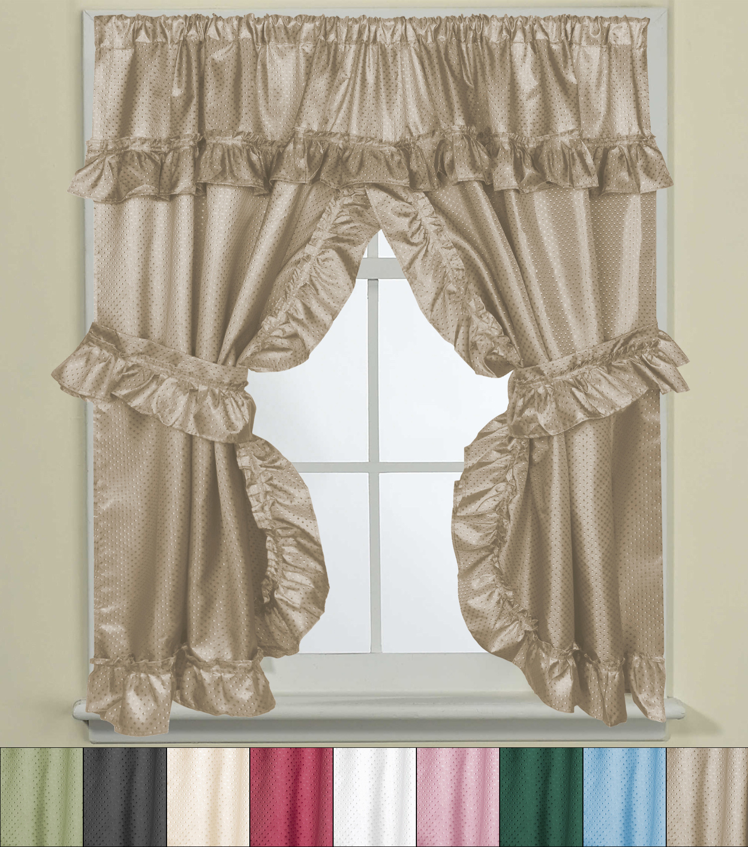 """Details About Bathroom Window Curtain Set W/tie Backs & Ruffle Valance Lauren 70""""x45"""" With Regard To Classic Hotel Quality Water Resistant Fabric Curtains Set With Tiebacks (View 8 of 20)"""