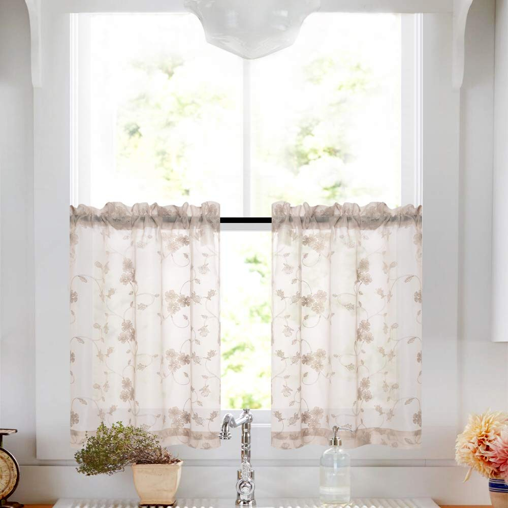 Details About Bed Room Living Room 45 2 Panel Luxury Window Sheer Curtain Set, Floral Taupe In Elegant Comfort Window Sheer Curtain Panel Pairs (View 9 of 20)