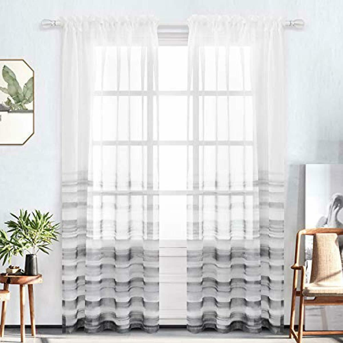 Details About Bermino Faux Linen Sheer Curtains Voile Rod Pocket Ombre Semi Sheer Curtains For Intended For Ombre Faux Linen Semi Sheer Curtains (View 6 of 20)