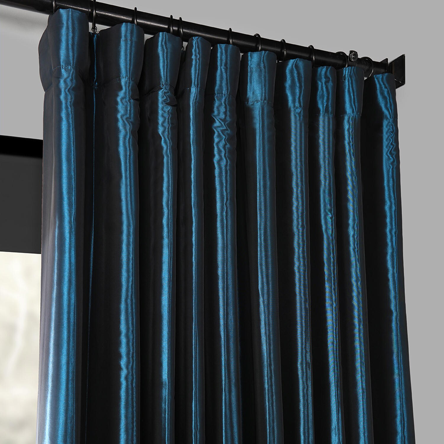 Details About Blackout Extra Wide Faux Silk Taffeta Curtain In Faux Silk Extra Wide Blackout Single Curtain Panels (View 16 of 20)
